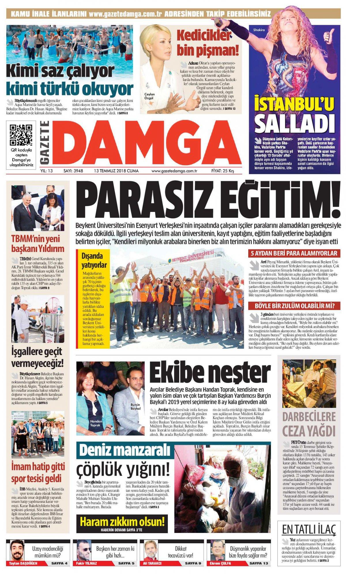 Gazete Damga - 13.07.2018 Manşeti