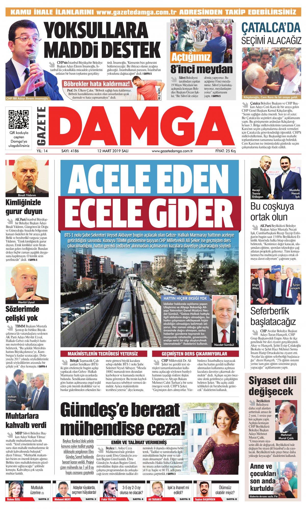 Gazete Damga - 12.03.2019 Sayfaları