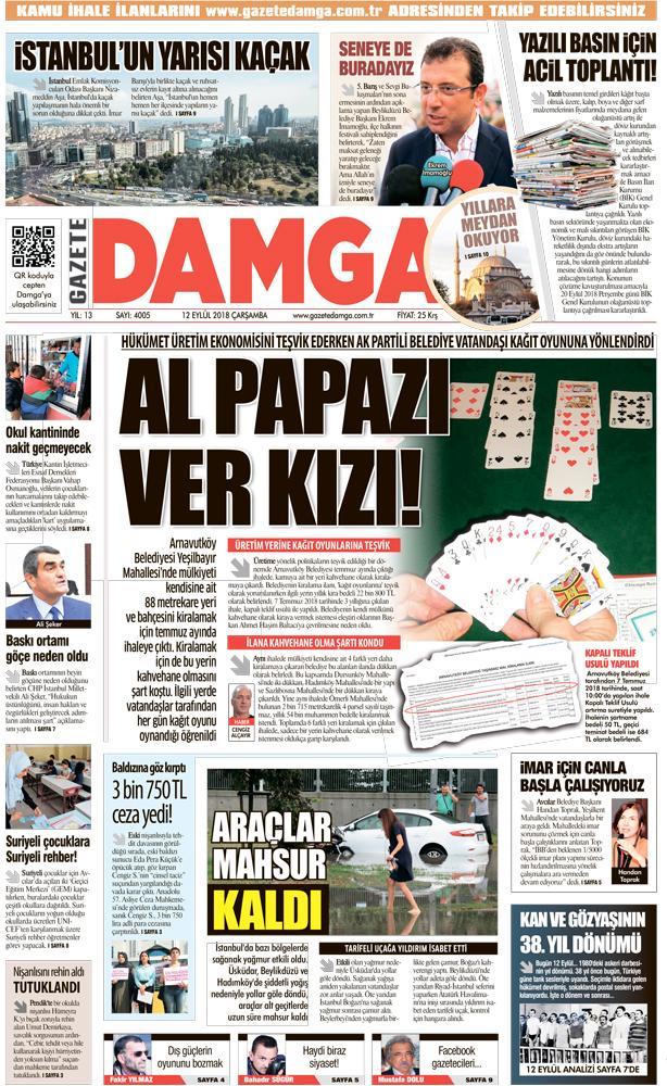 Gazete Damga - 12.09.2018 Manşeti
