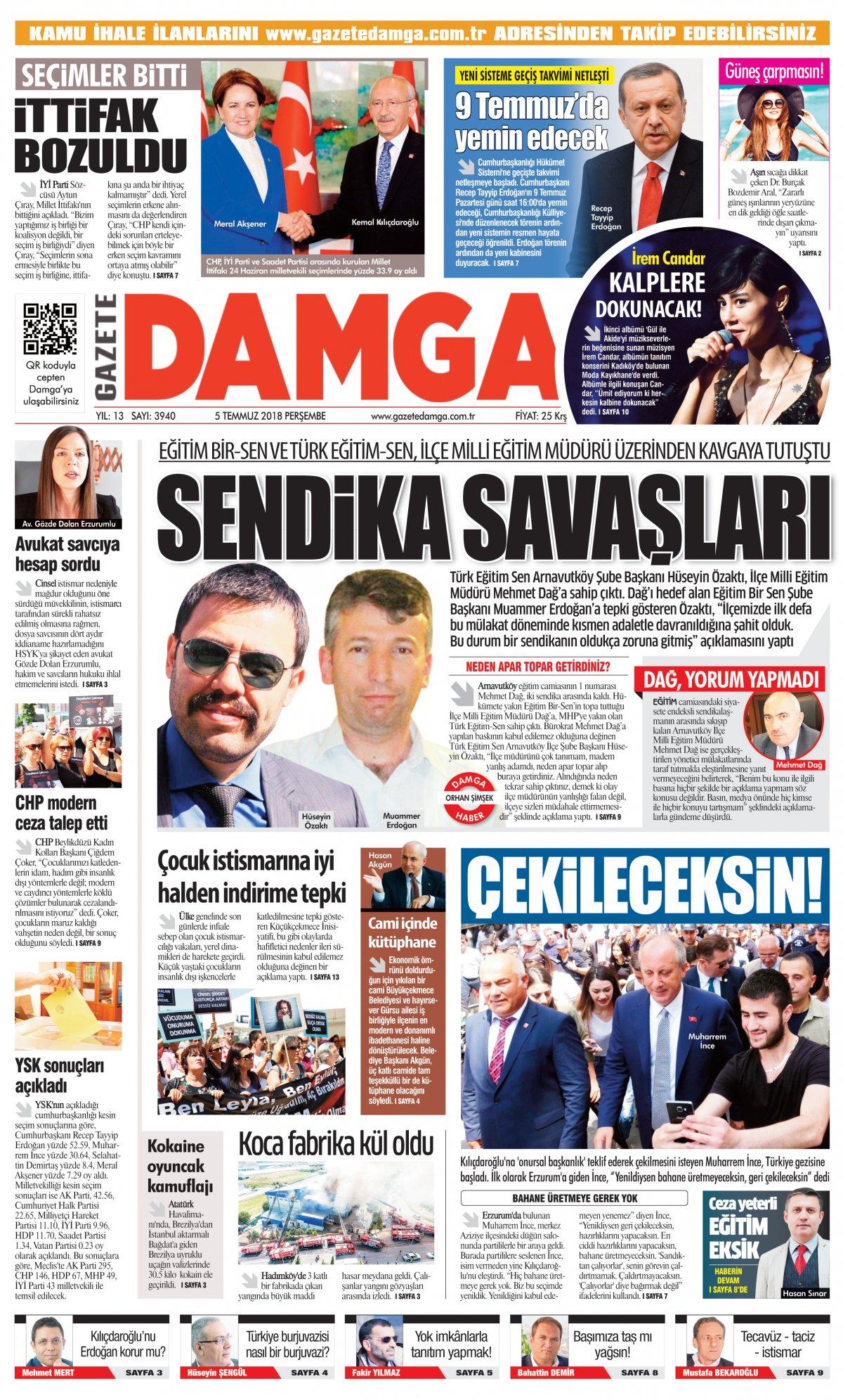 Gazete Damga - 05.07.2018 Manşeti