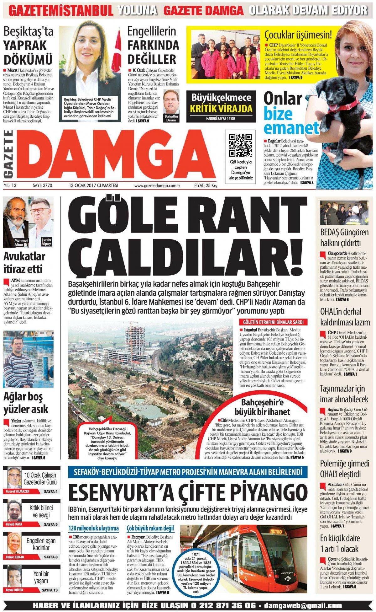 Gazete Damga - 13.01.2018 Manşeti