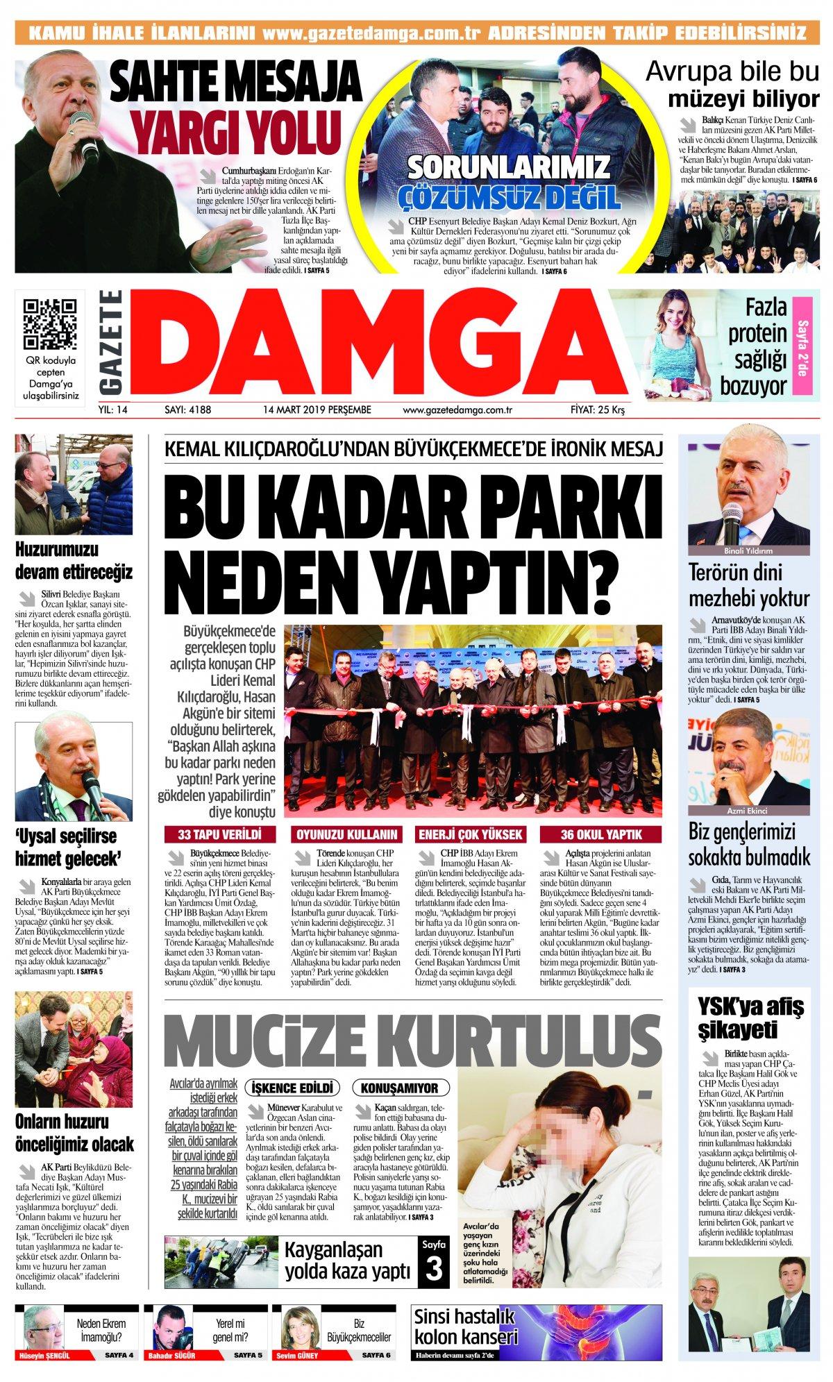 Gazete Damga - 14.03.2019 Sayfaları