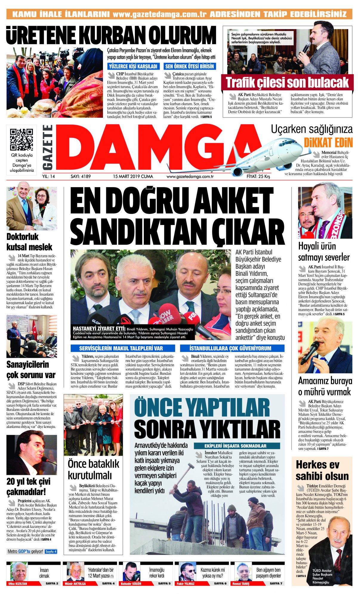 Gazete Damga - 15.03.2019 Sayfaları