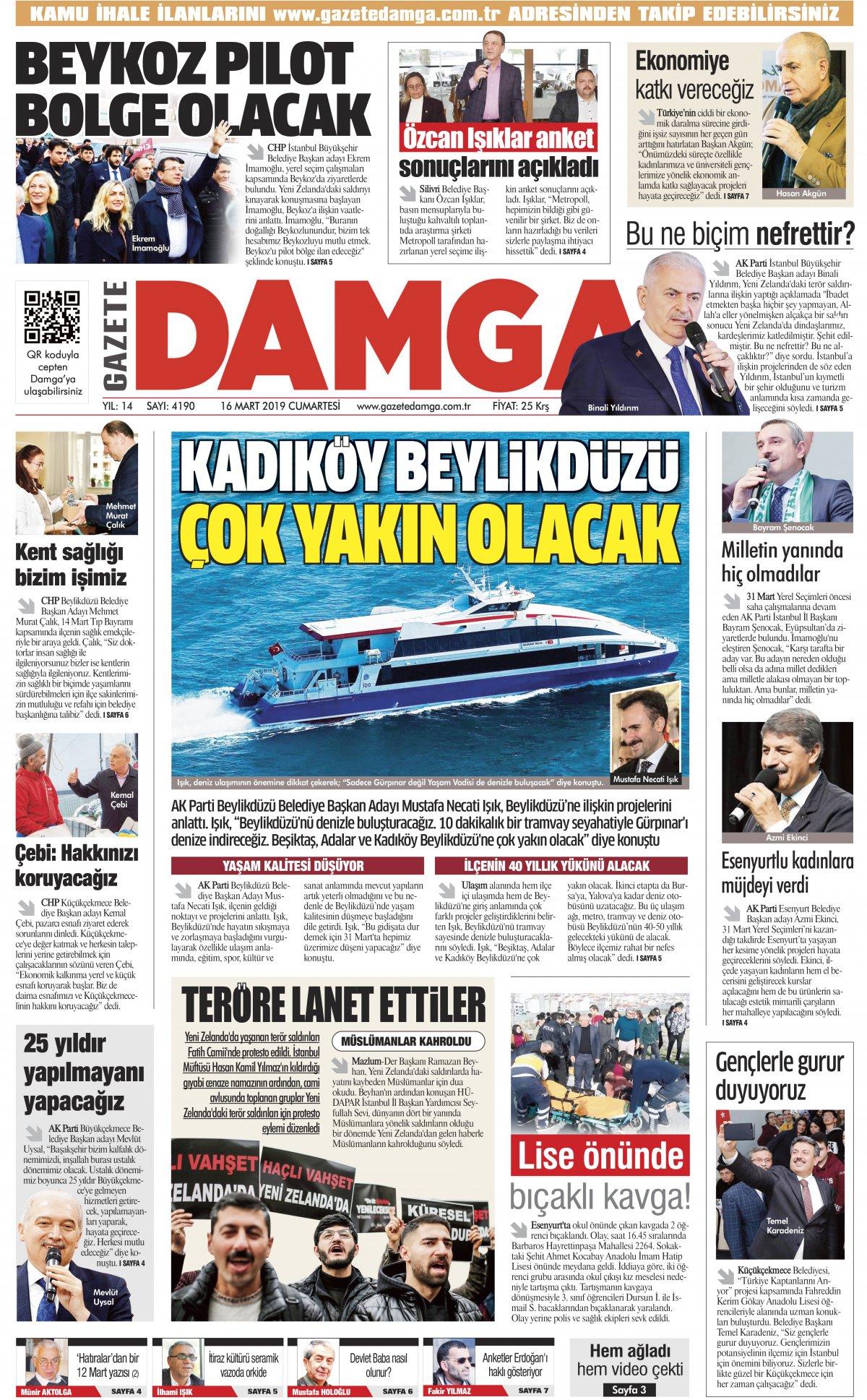 Gazete Damga - 16.03.2019 Sayfaları
