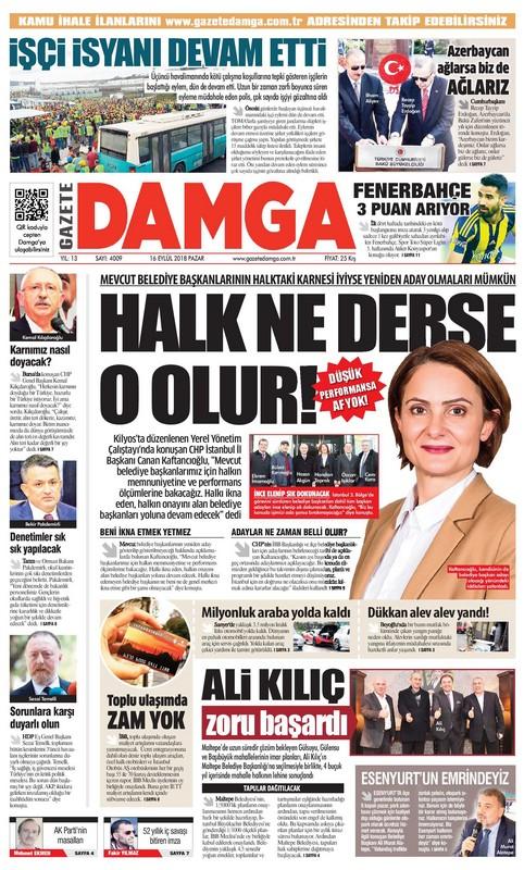 Gazete Damga - 16.09.2018 Manşeti