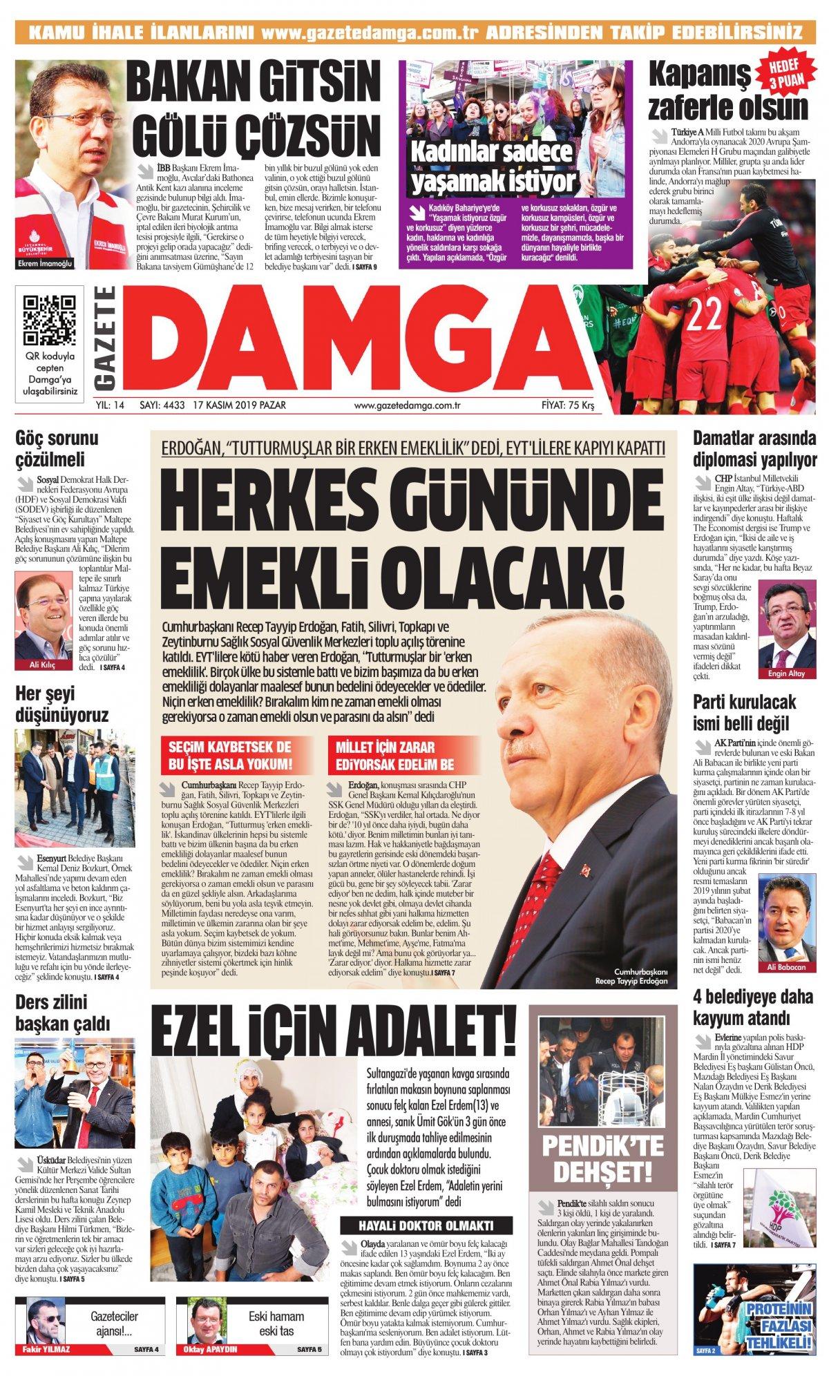 Gazete Damga - 17.11.2019 Sayfaları