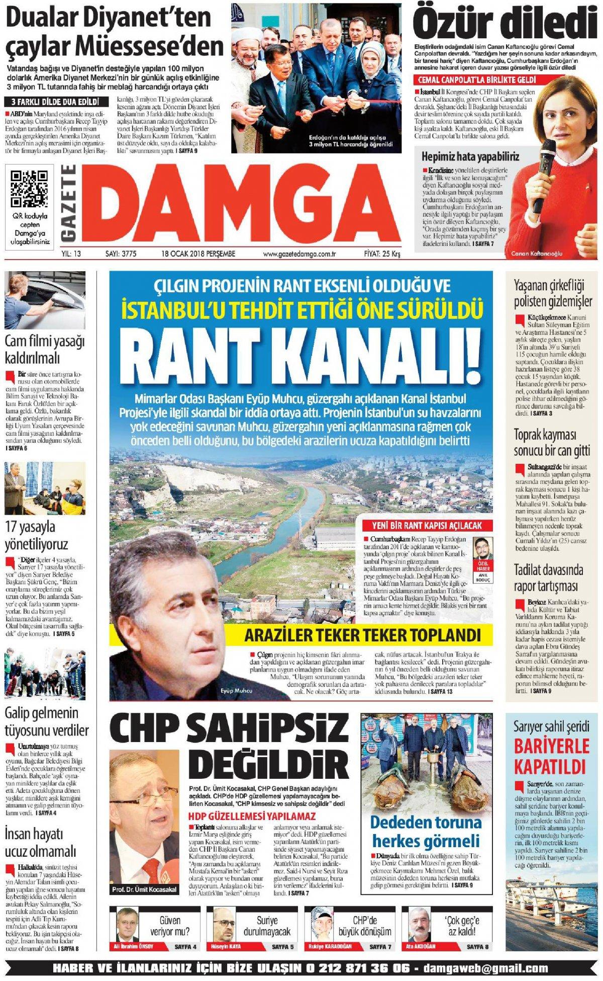 Gazete Damga - 18.01.2018 Manşeti