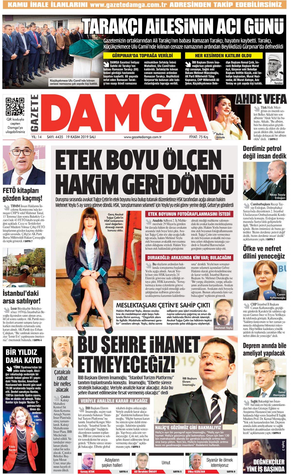 Gazete Damga - 19.11.2019 Sayfaları