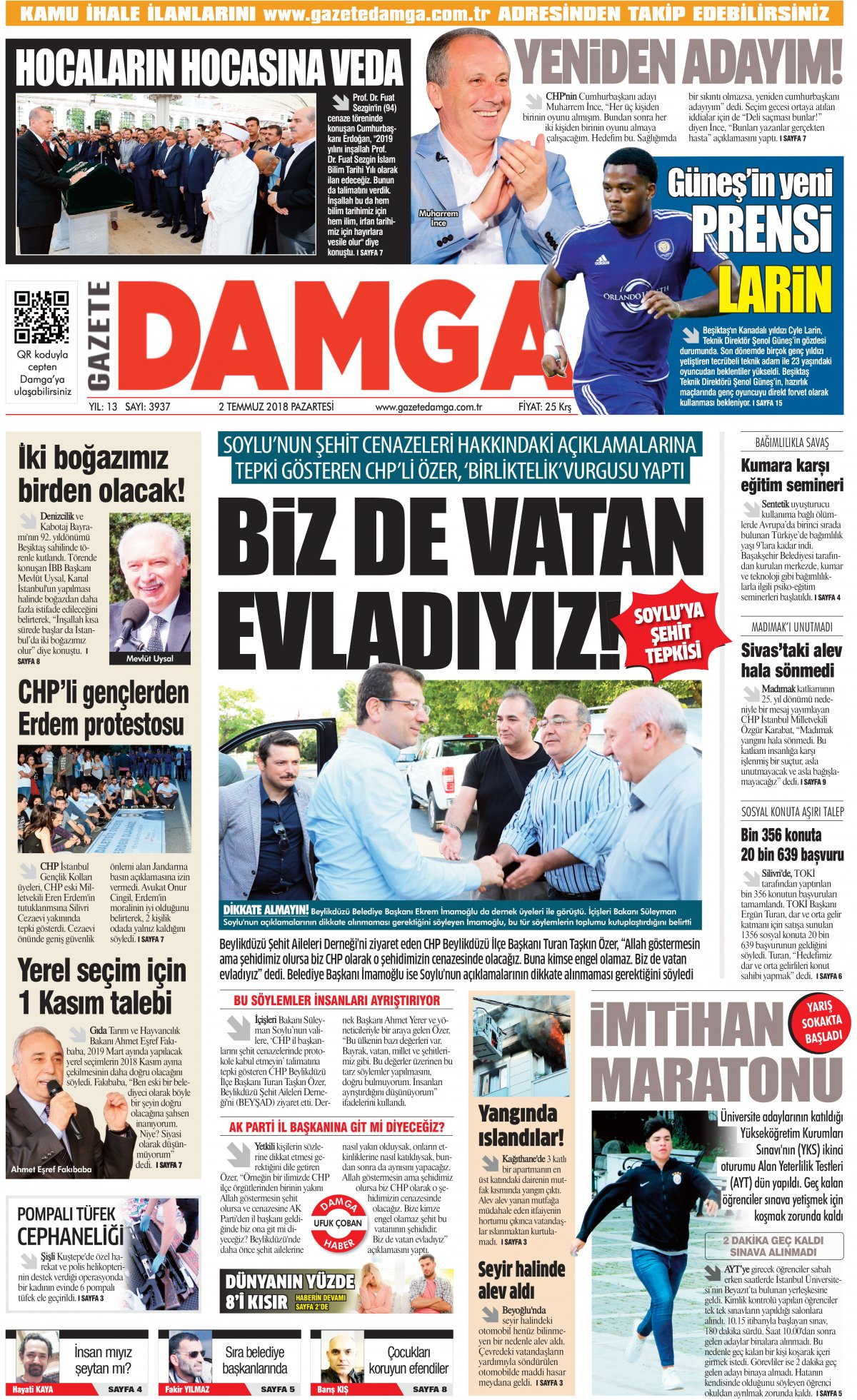 Gazete Damga - 02.07.2018 Manşeti