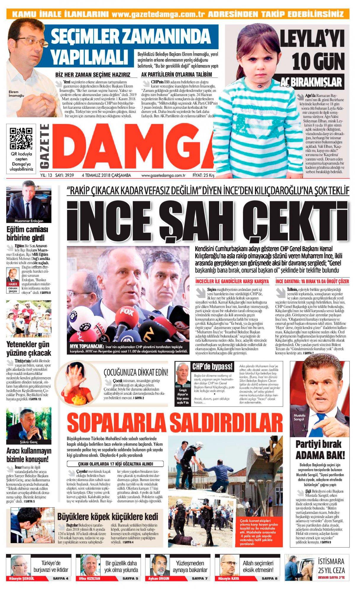 Gazete Damga - 04.07.2018 Manşeti