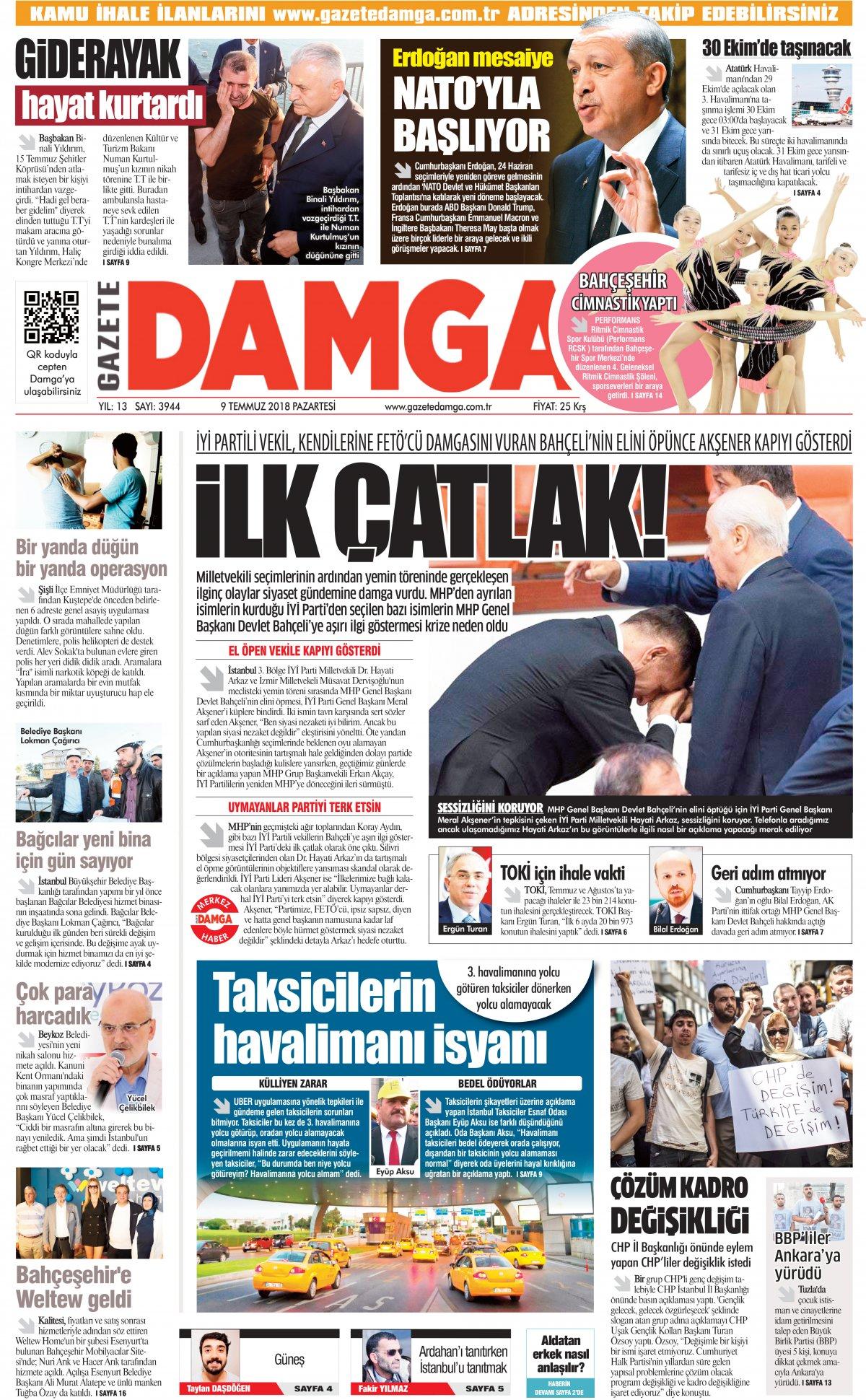 Gazete Damga - 09.07.2018 Manşeti