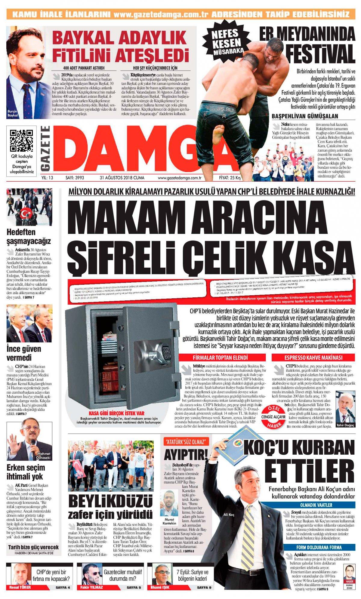 Gazete Damga - 31.08.2018 Manşeti
