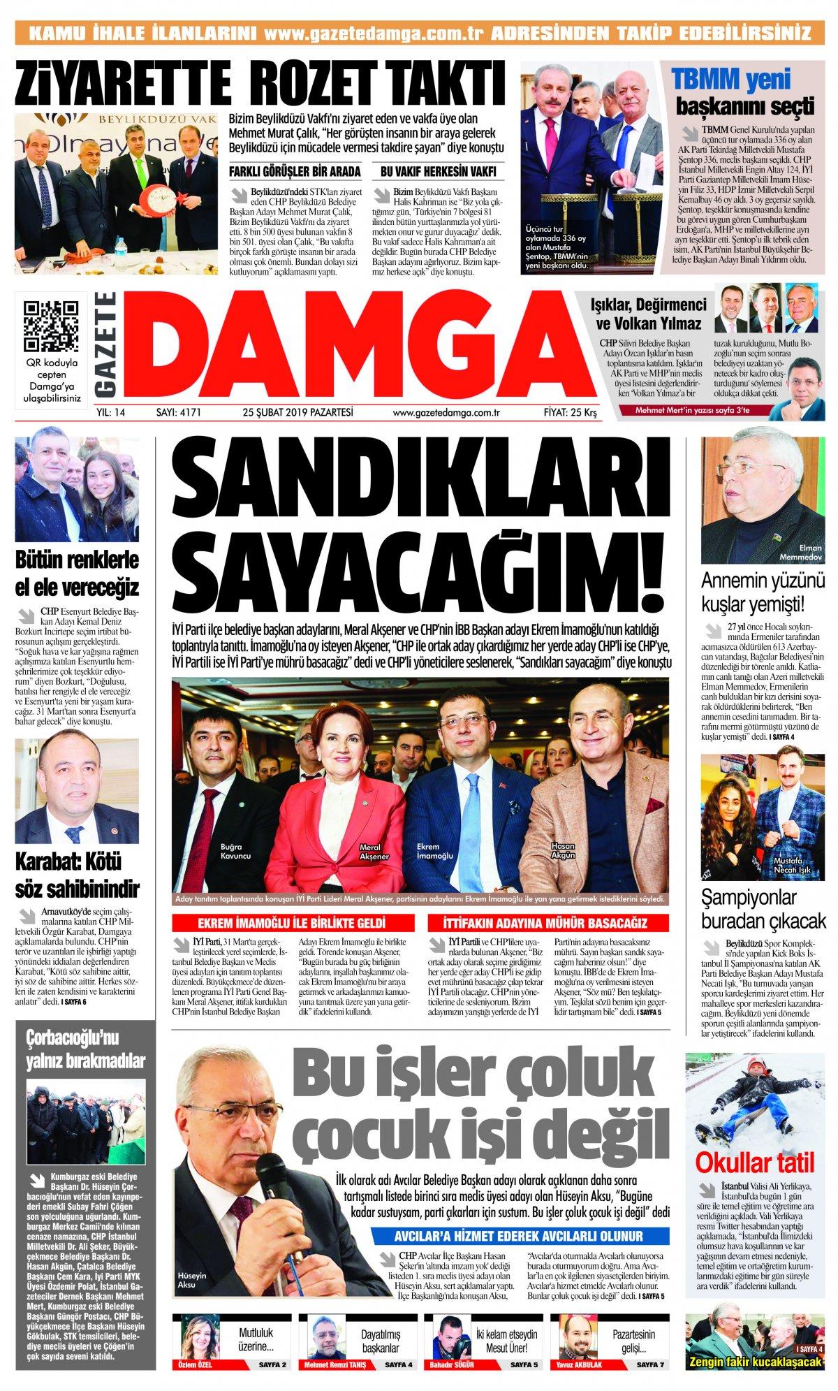 Gazete Damga - 25.02.2019 Sayfaları