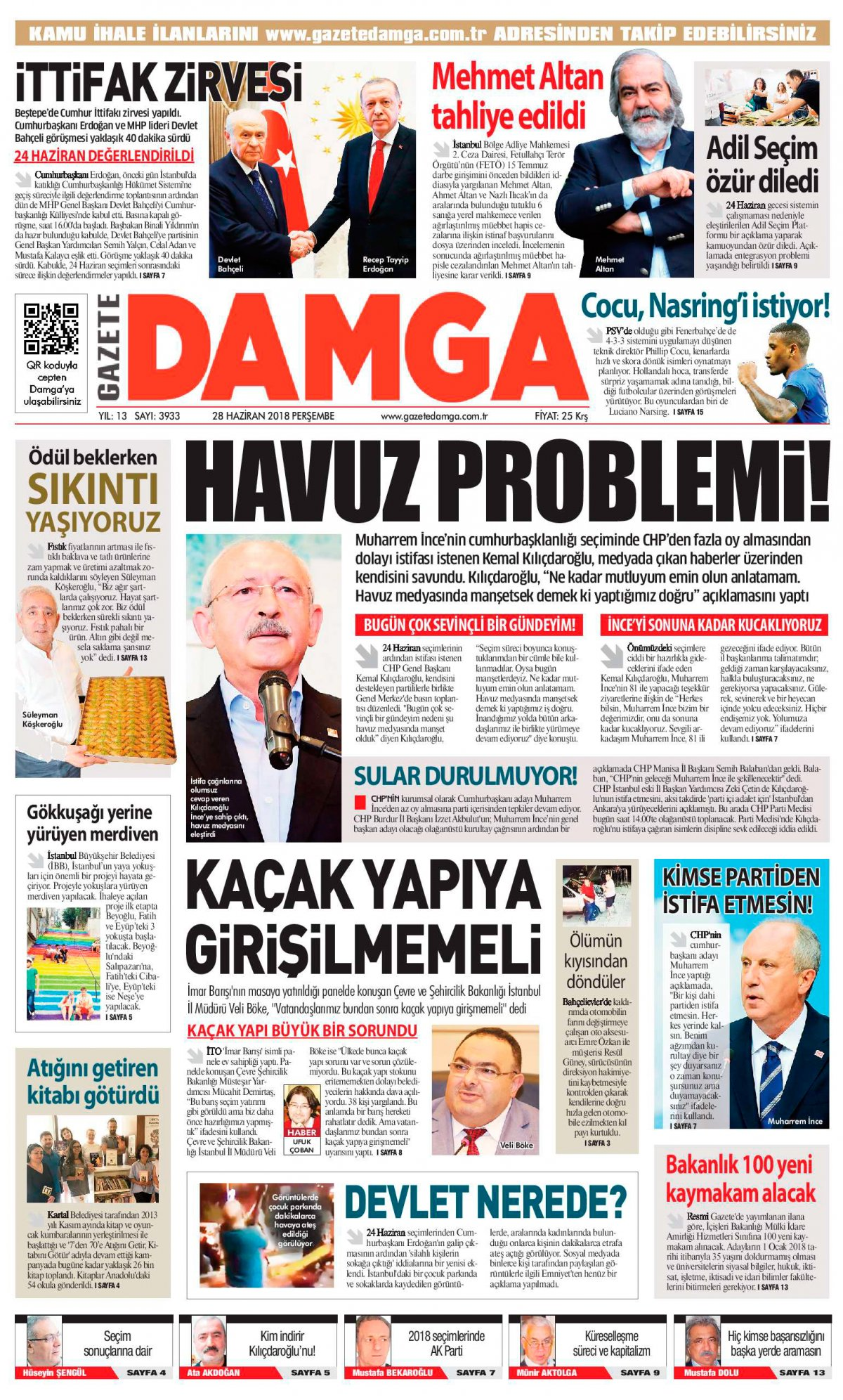 Gazete Damga - 28.06.2018 Manşeti