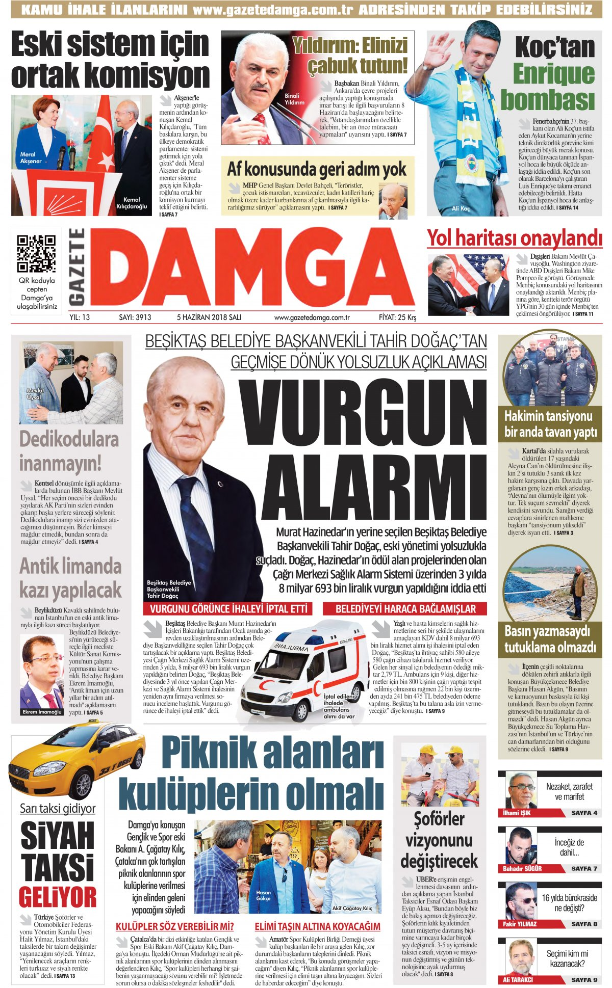 Gazete Damga - 01.07.2018 Manşeti