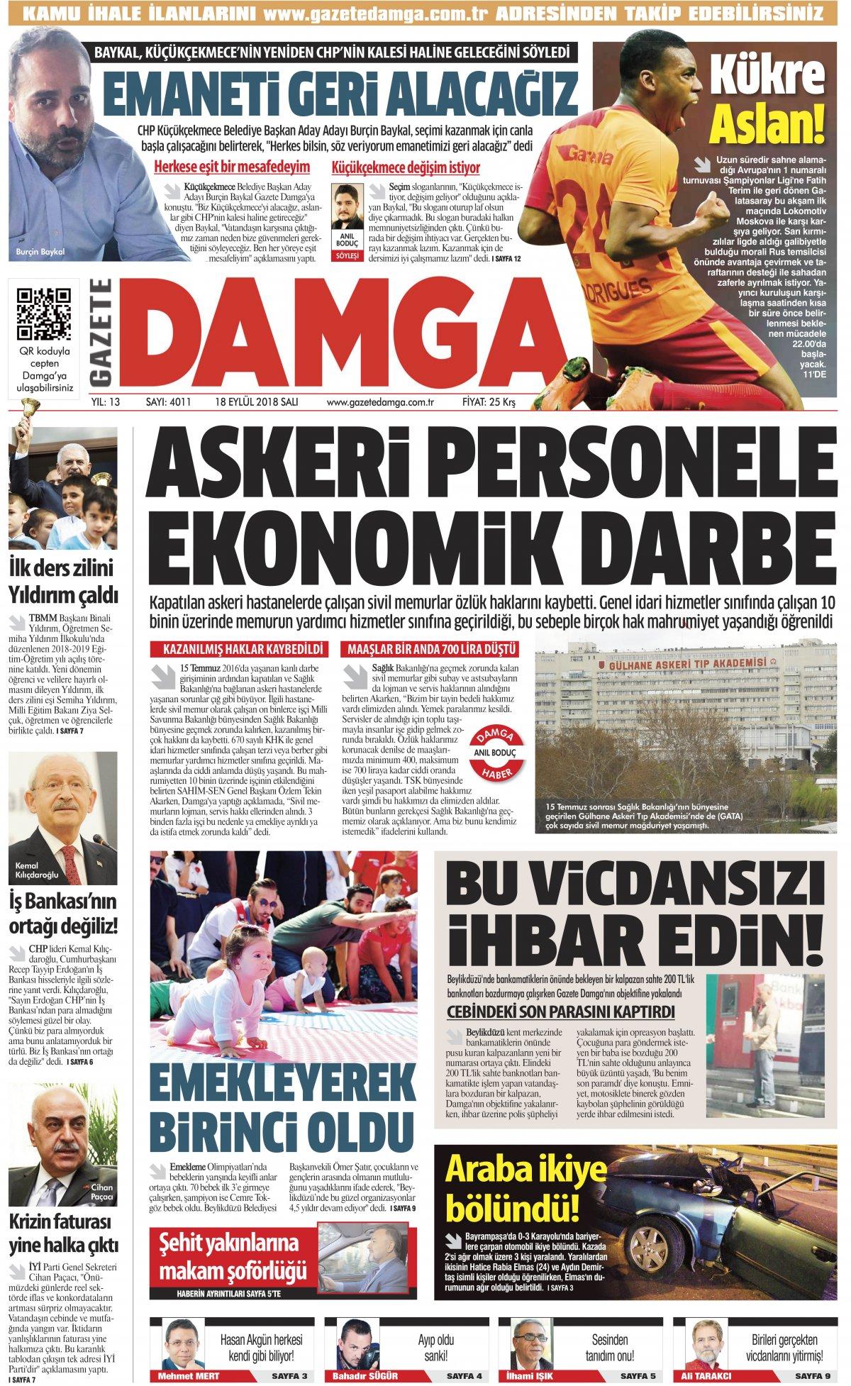 Gazete Damga - 18.09.2018 Manşeti