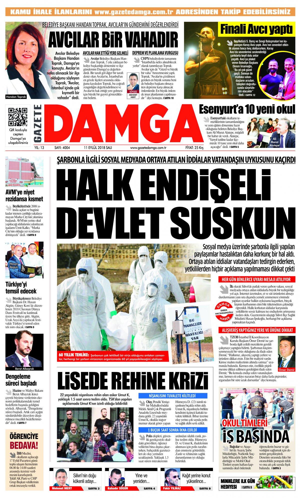 Gazete Damga - 11.09.2018 Manşeti