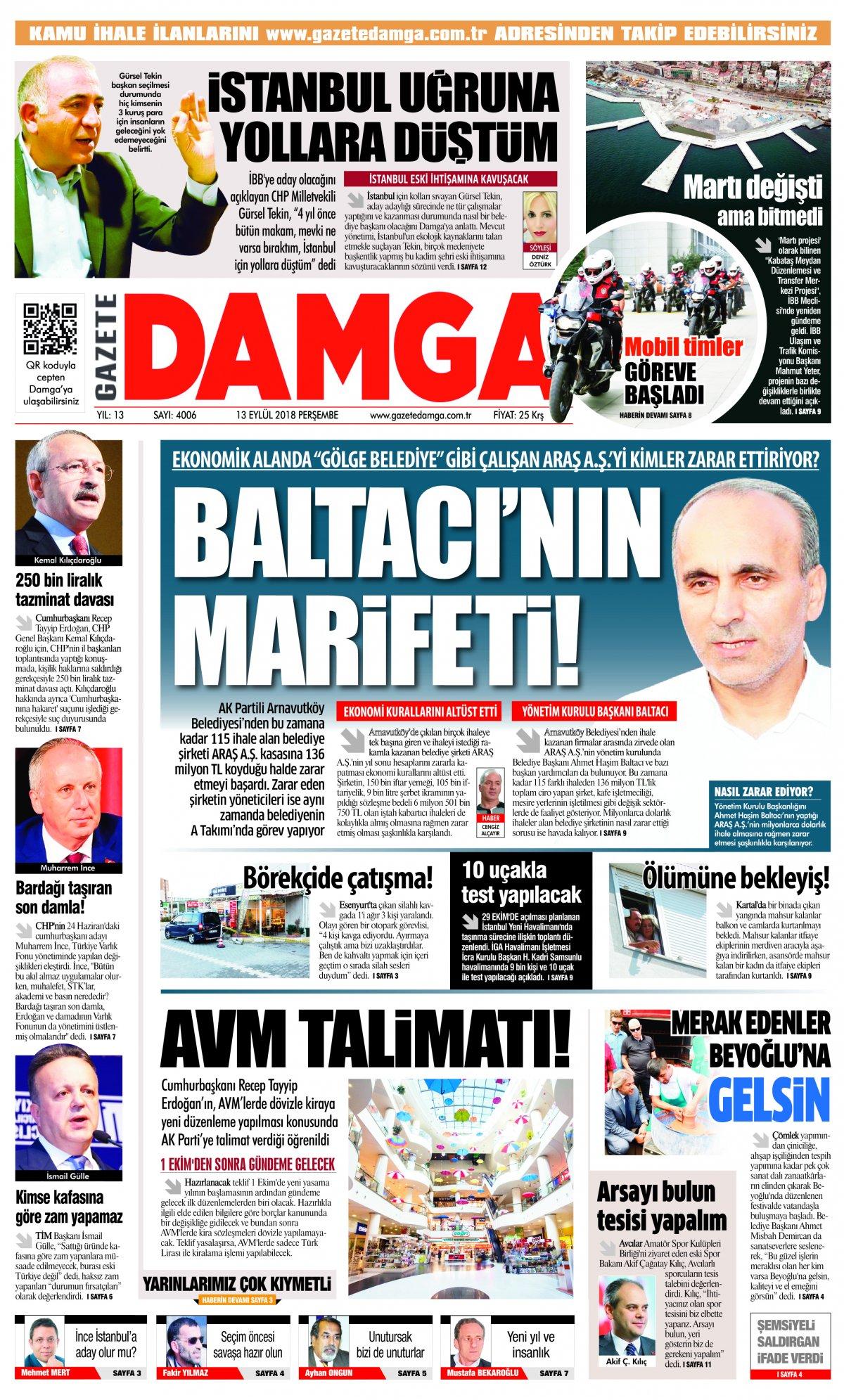 Gazete Damga - 13.09.2018 Manşeti