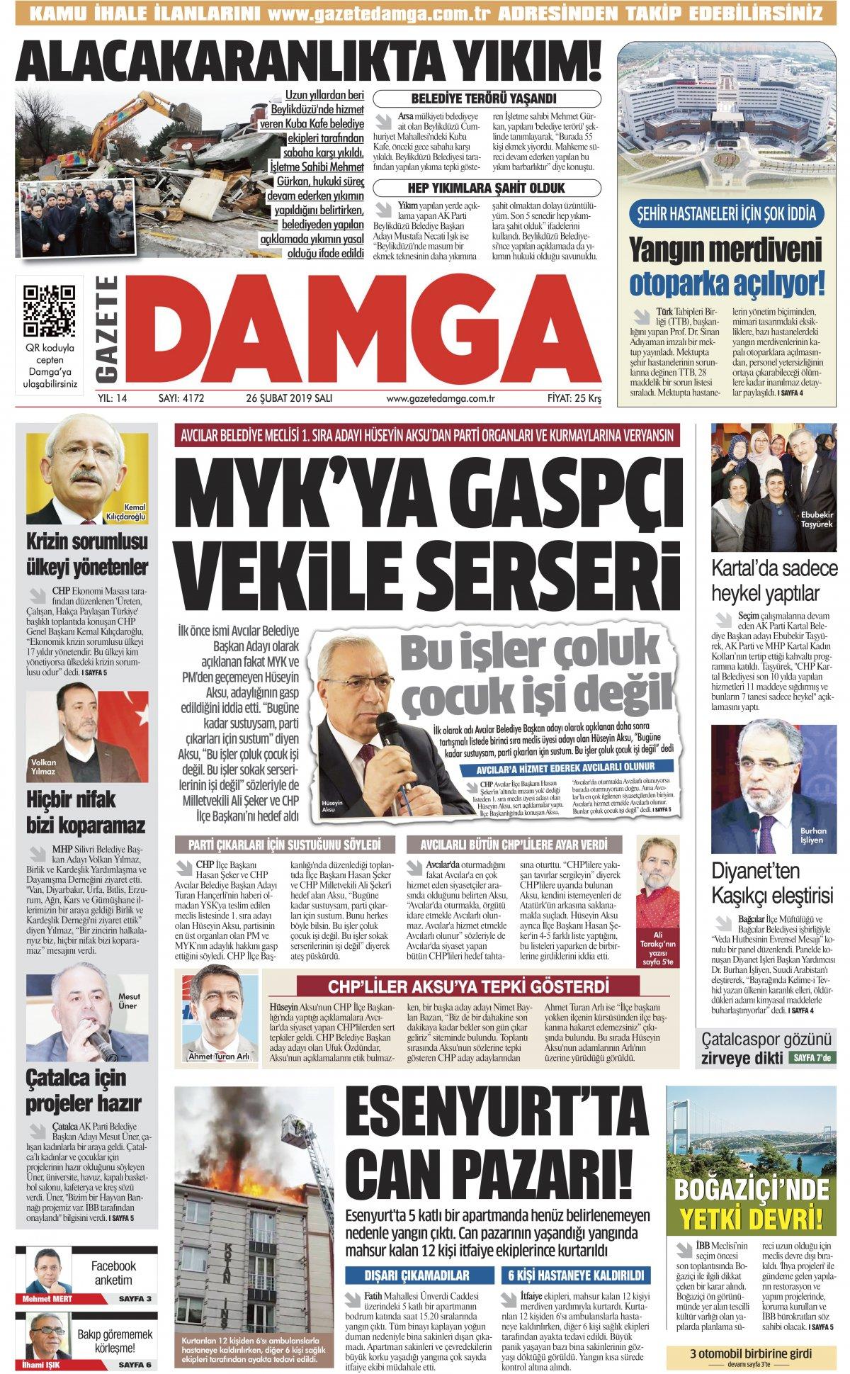 Gazete Damga - 26.02.2019 Sayfaları