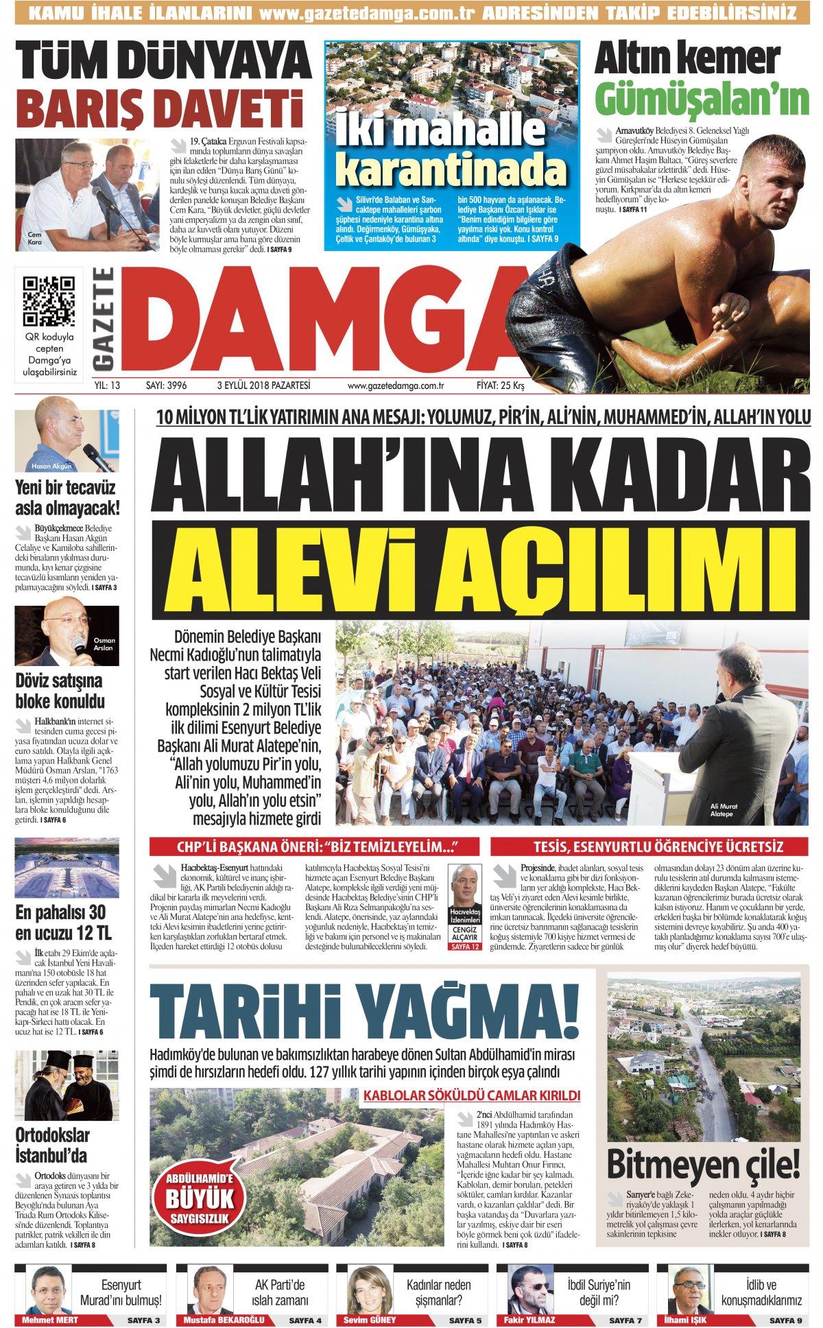 Gazete Damga - 03.09.2018 Manşeti