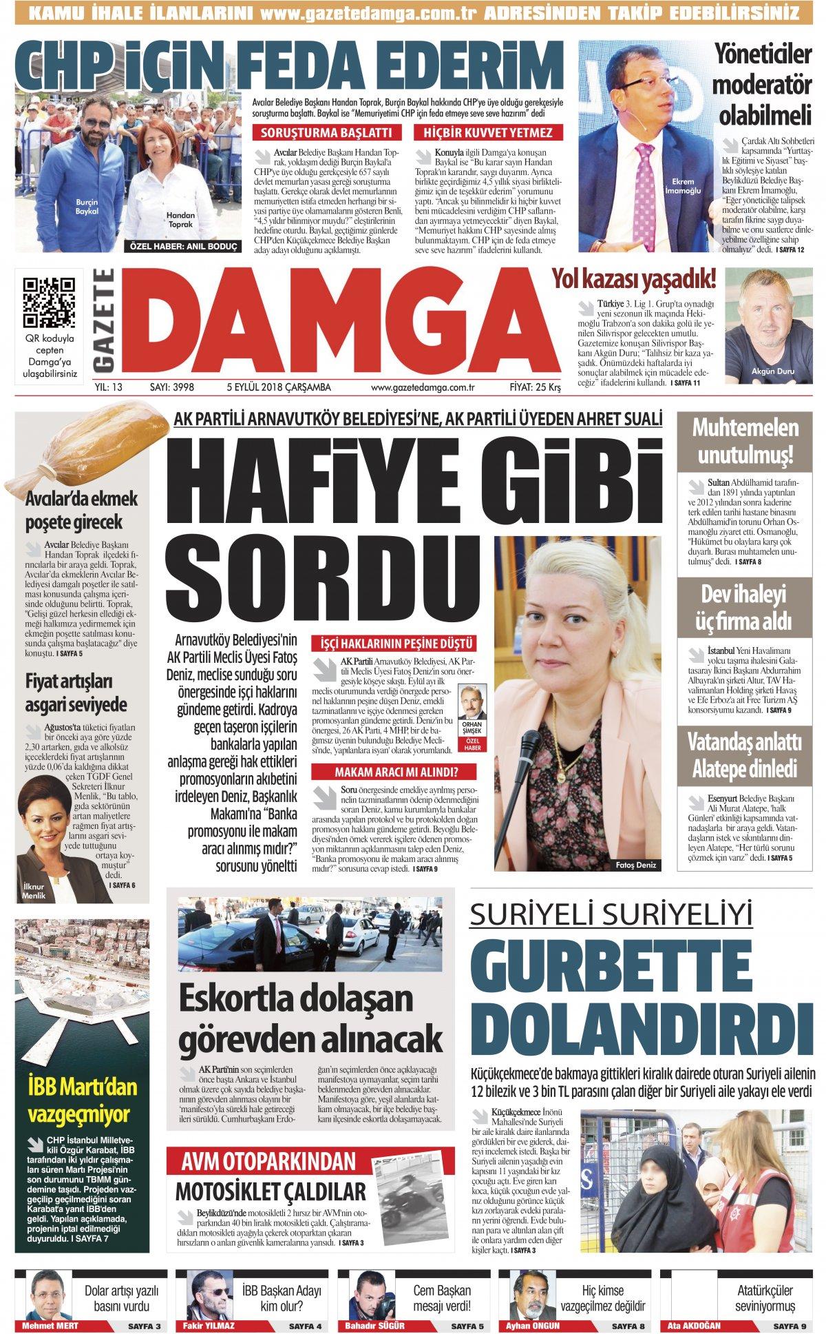 Gazete Damga - 05.09.2018 Manşeti