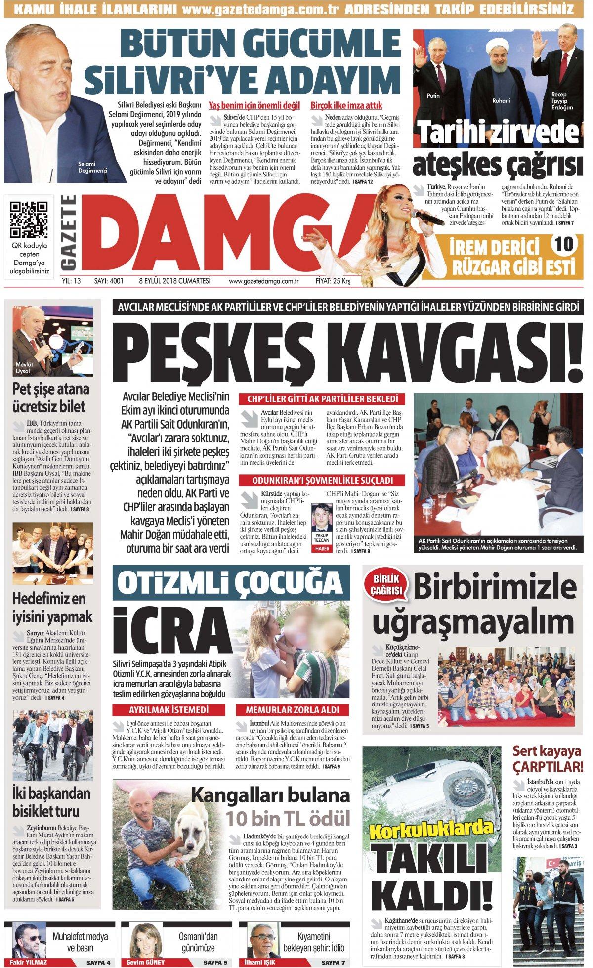 Gazete Damga - 08.09.2018 Manşeti