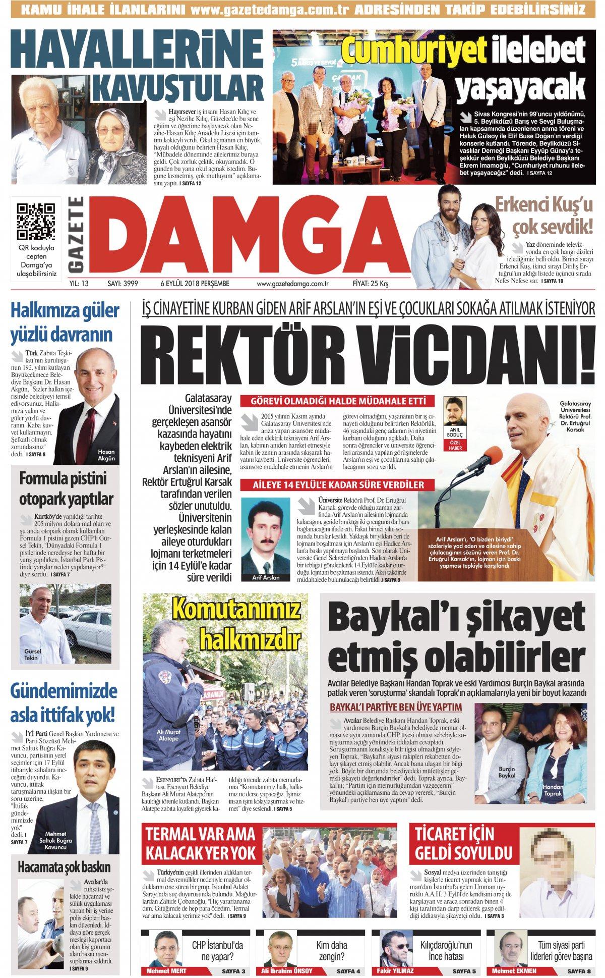 Gazete Damga - 06.09.2018 Manşeti