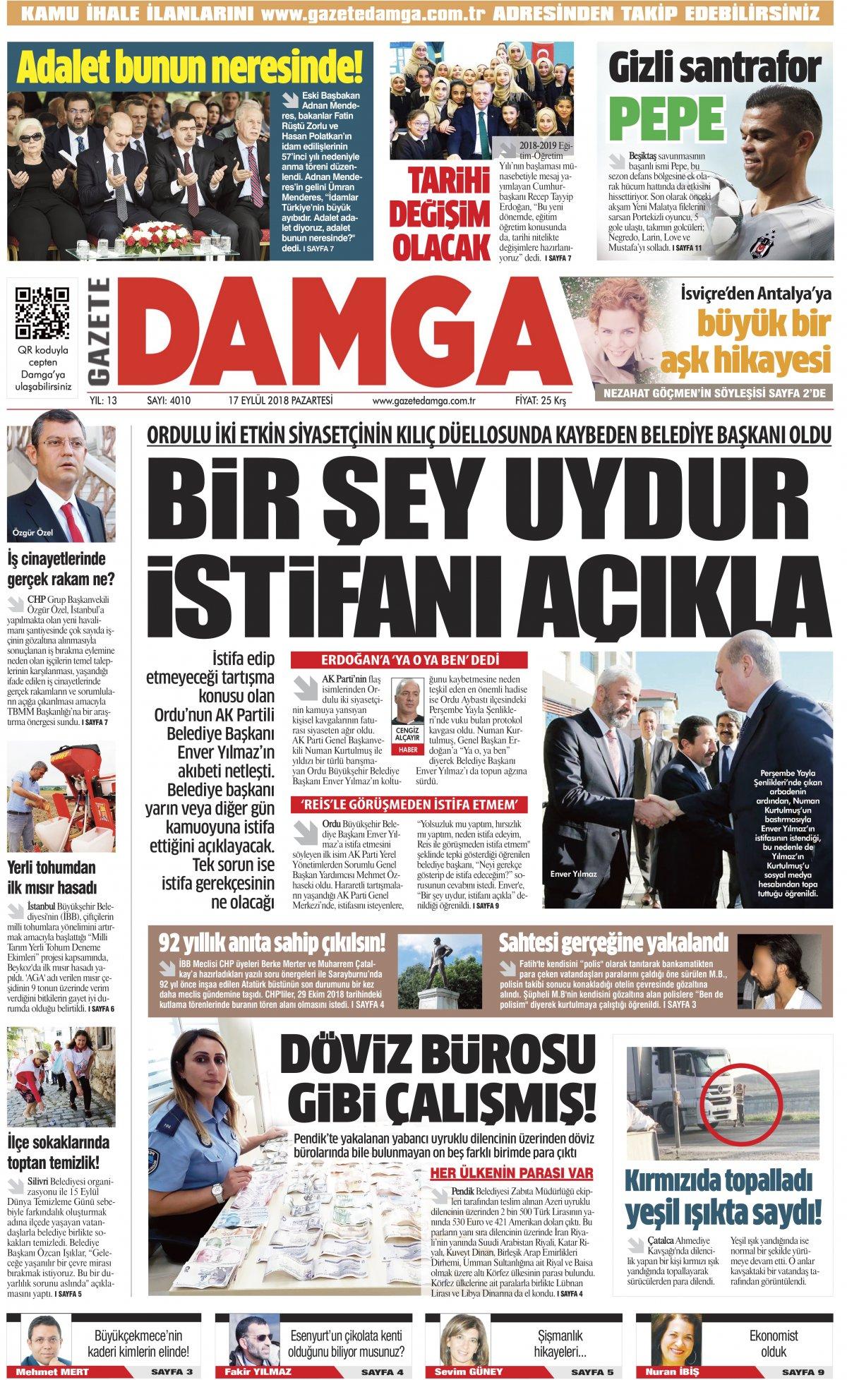 Gazete Damga - 17.09.2018 Manşeti