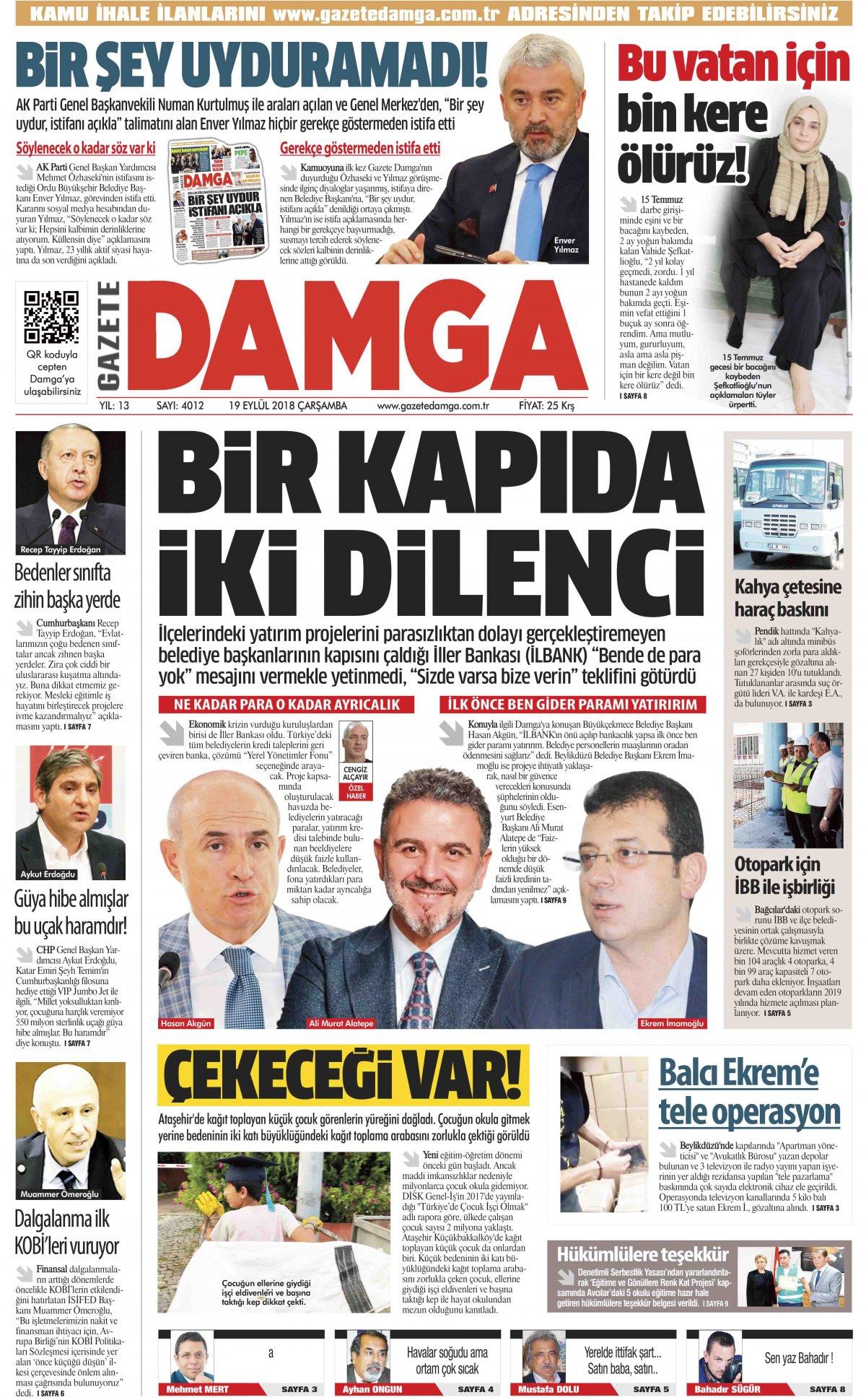 Gazete Damga - 19.09.2018 Manşeti