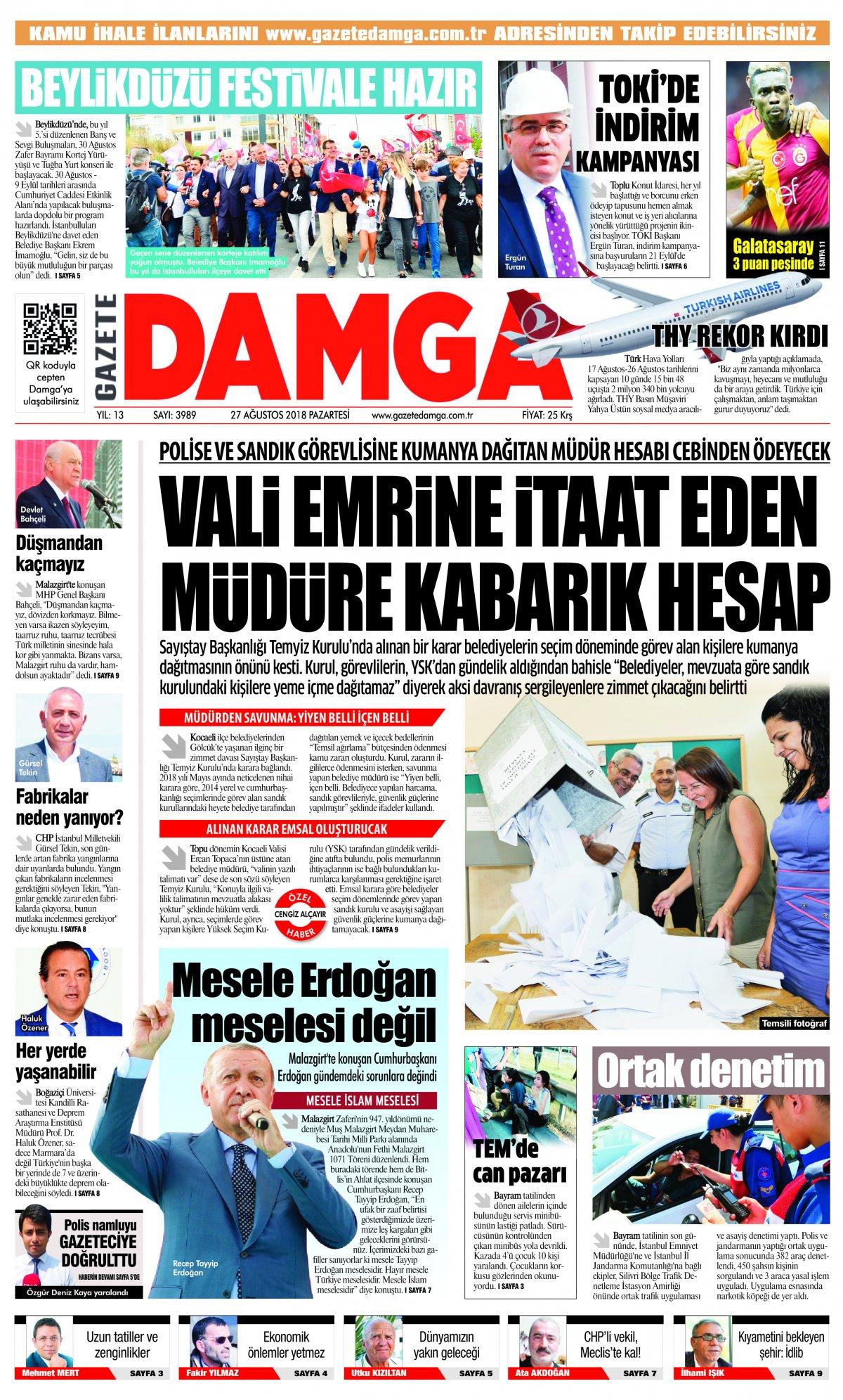 Gazete Damga - 27.08.2018 Manşeti