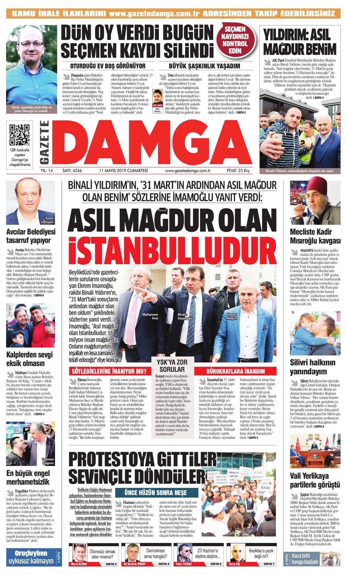 Gazete Damga - 11.05.2019 Sayfaları