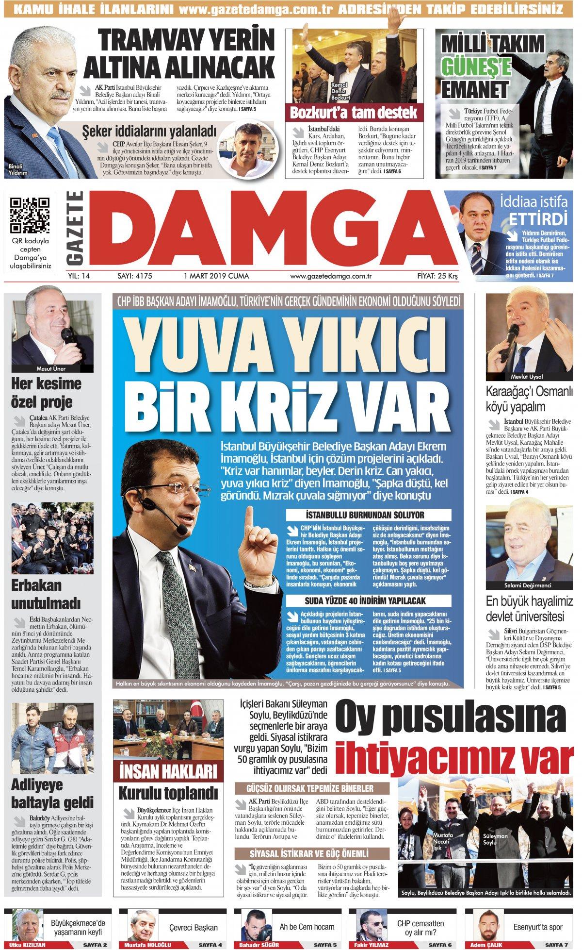 Gazete Damga - 01.03.2019 Sayfaları