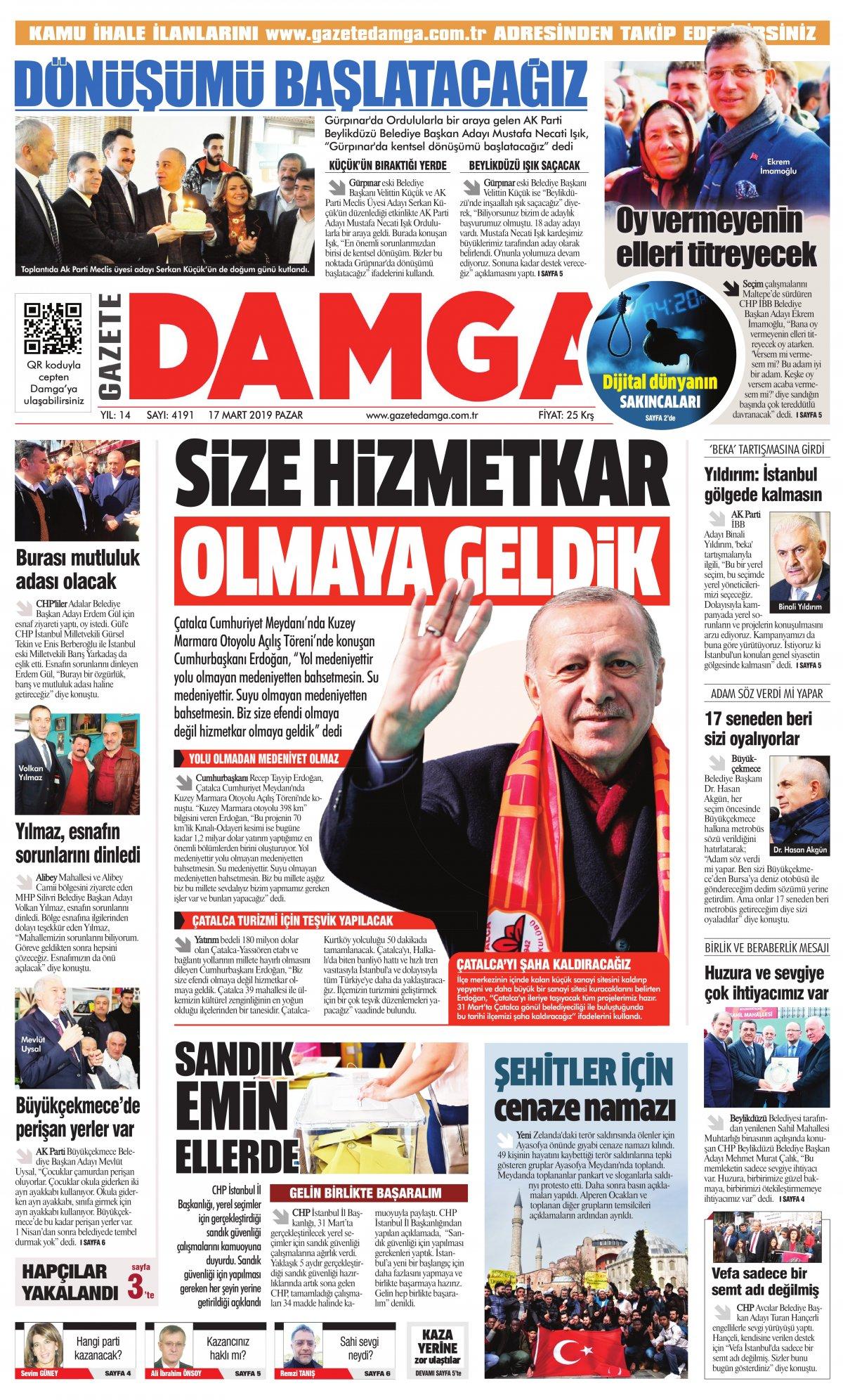 Gazete Damga - 17.03.2019 Sayfaları