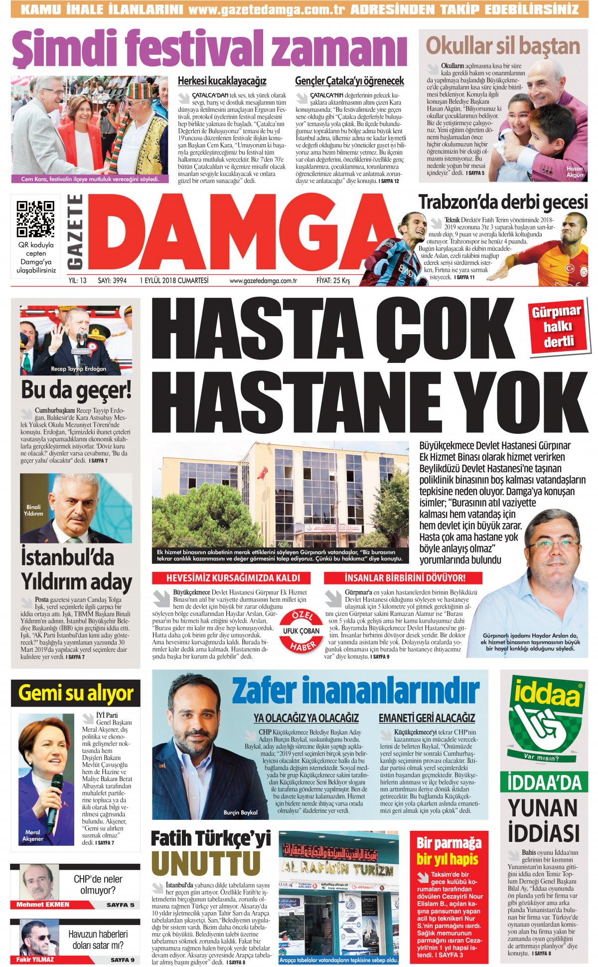 Gazete Damga - 01.09.2018 Manşeti