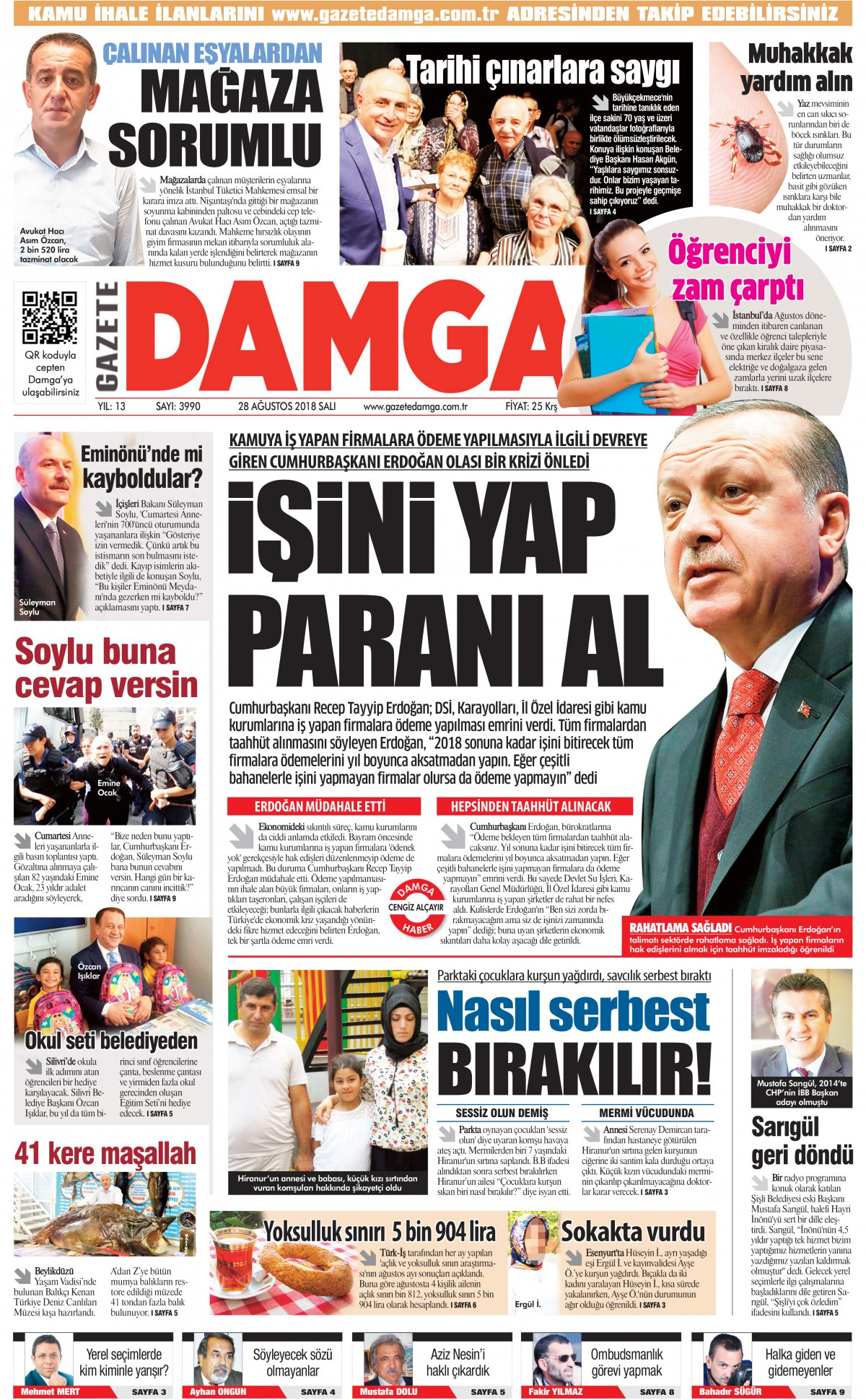 Gazete Damga - 28.08.2018 Manşeti