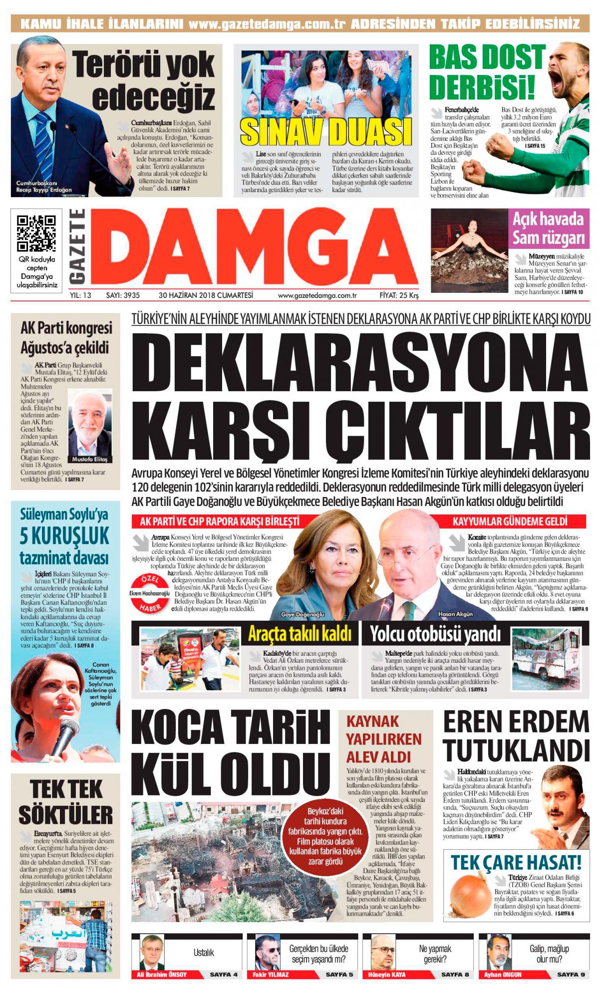 Gazete Damga - 30.06.2018 Manşeti