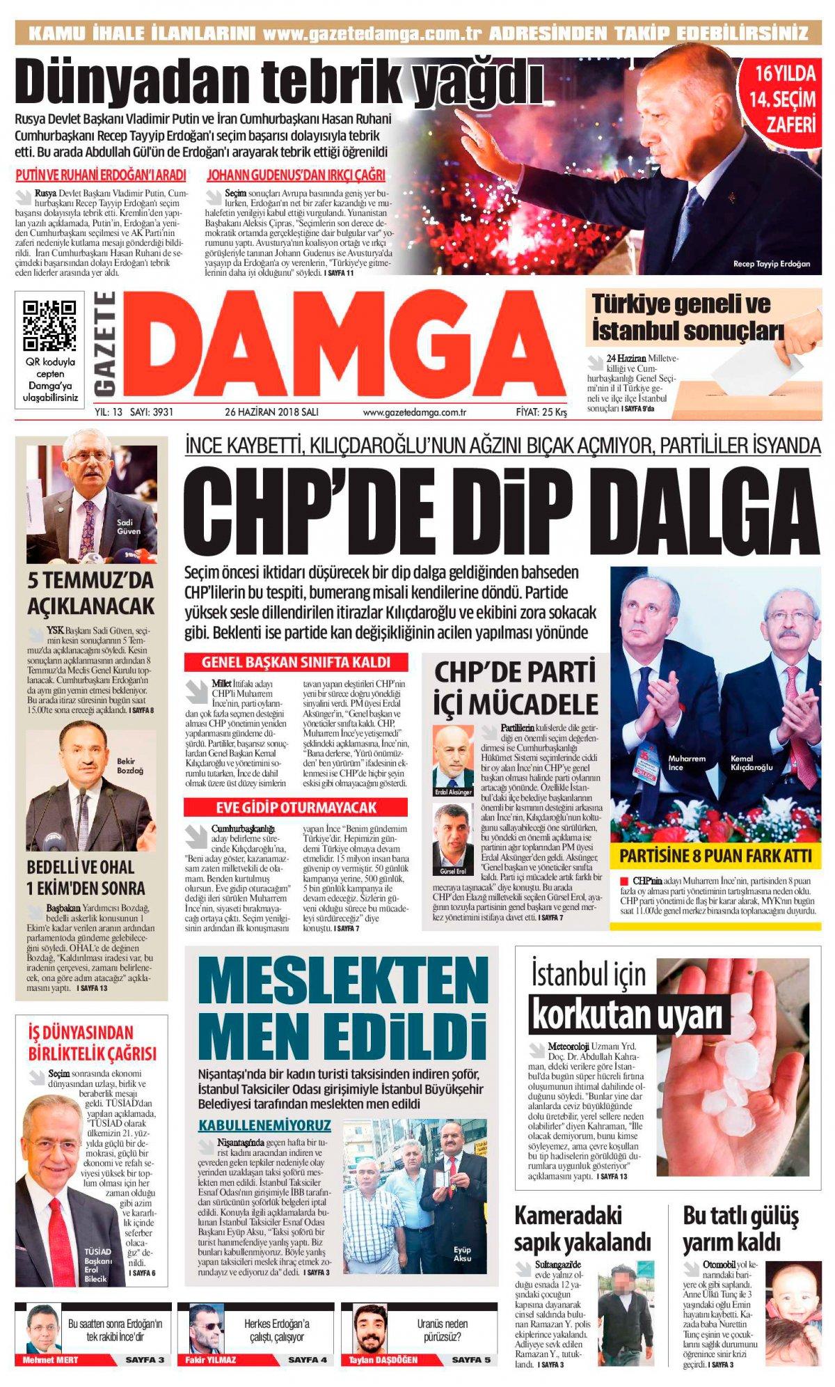 Gazete Damga - 26.06.2018 Manşeti