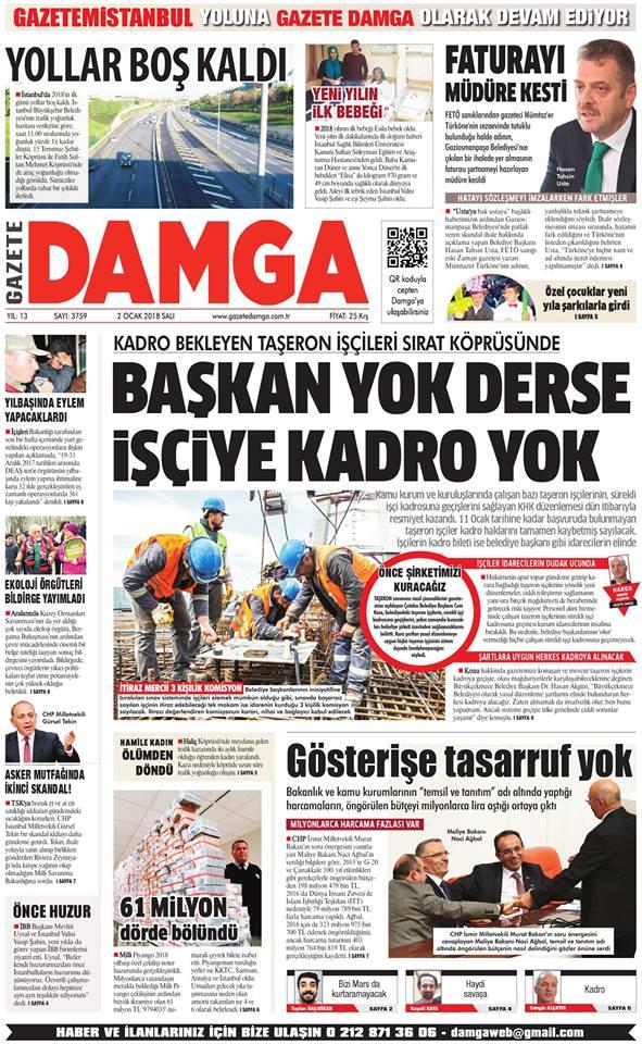 Gazete Damga - 02.01.2018 Manşeti