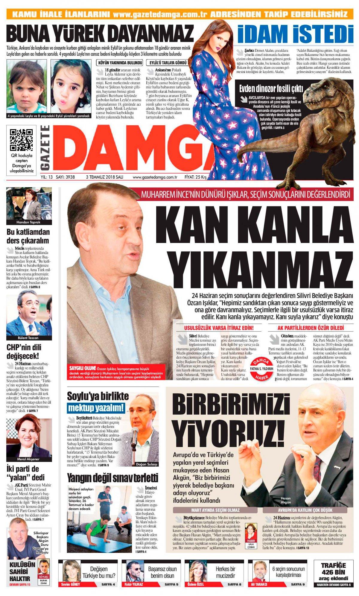 Gazete Damga - 03.07.2018 Manşeti