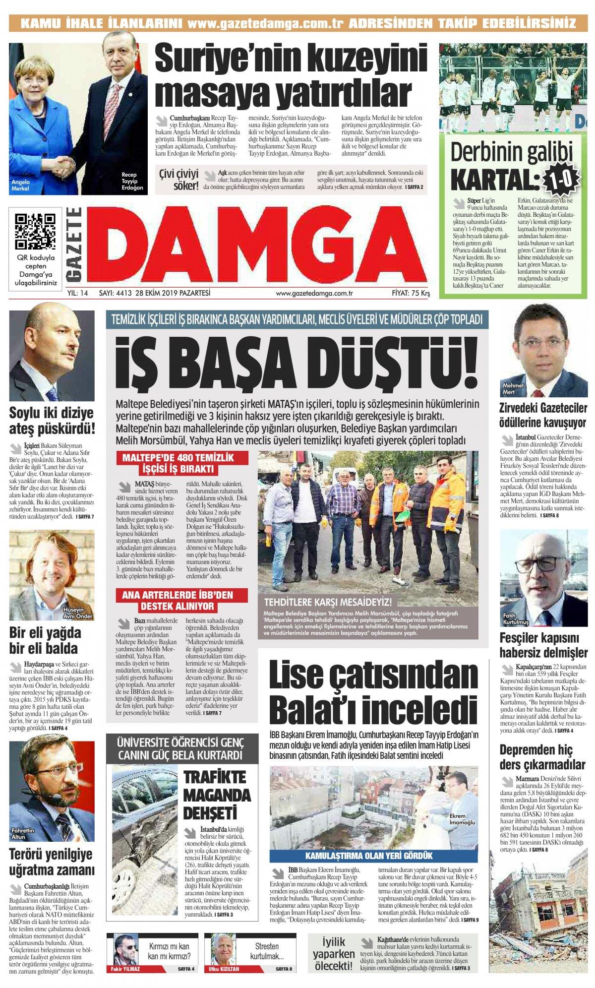 Gazete Damga - 28.10.2019 Sayfaları