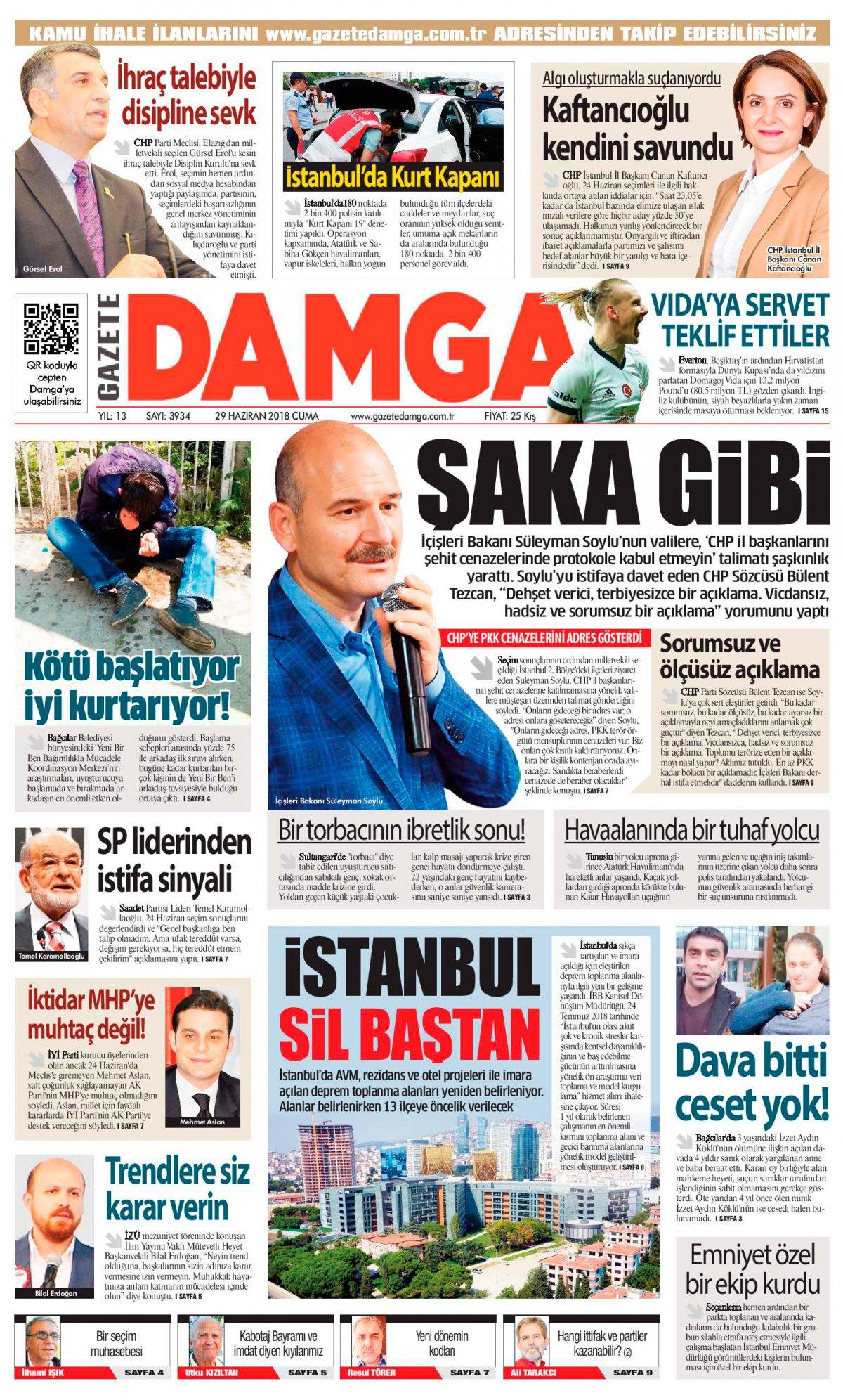 Gazete Damga - 29.06.2018 Manşeti