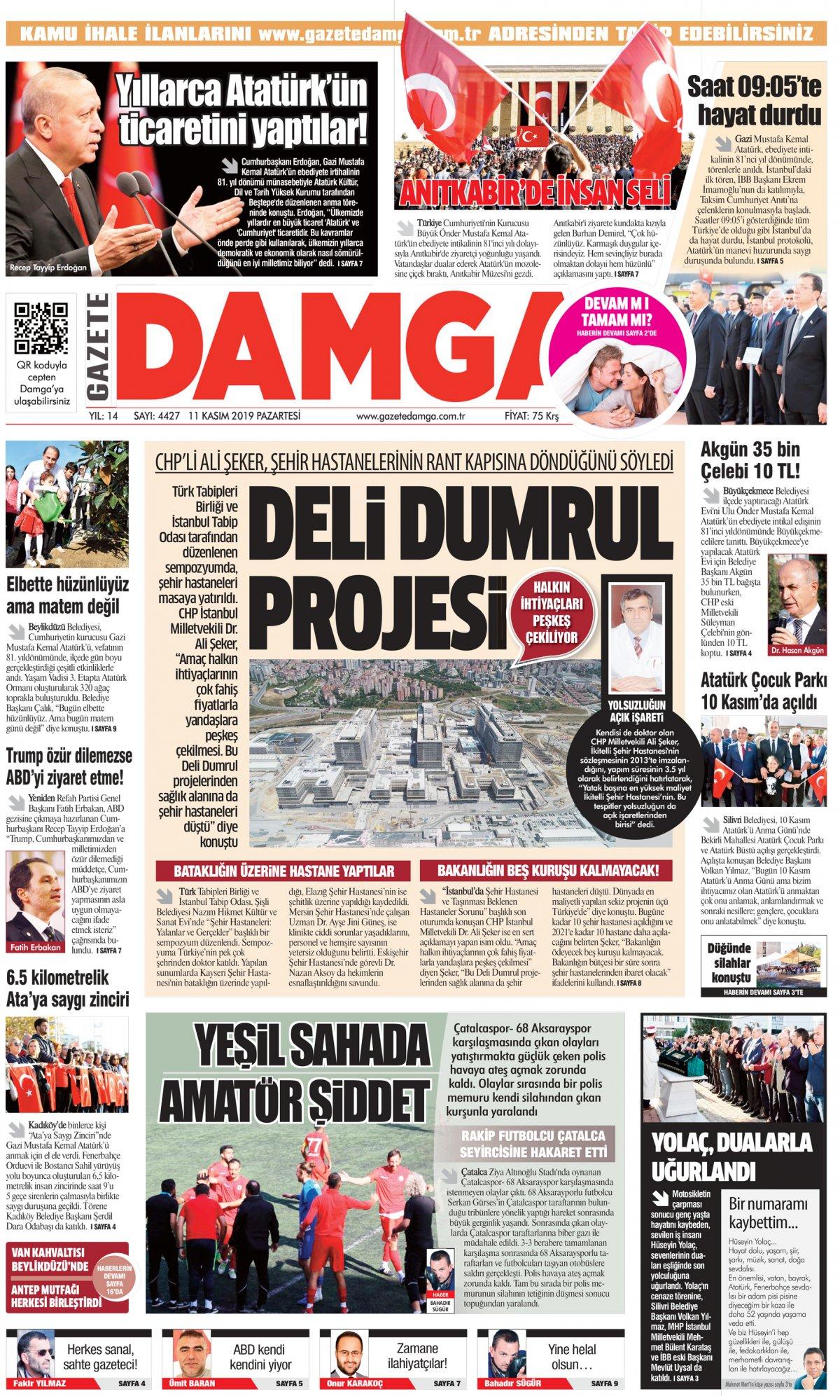 Gazete Damga - 11.11.2019 Sayfaları
