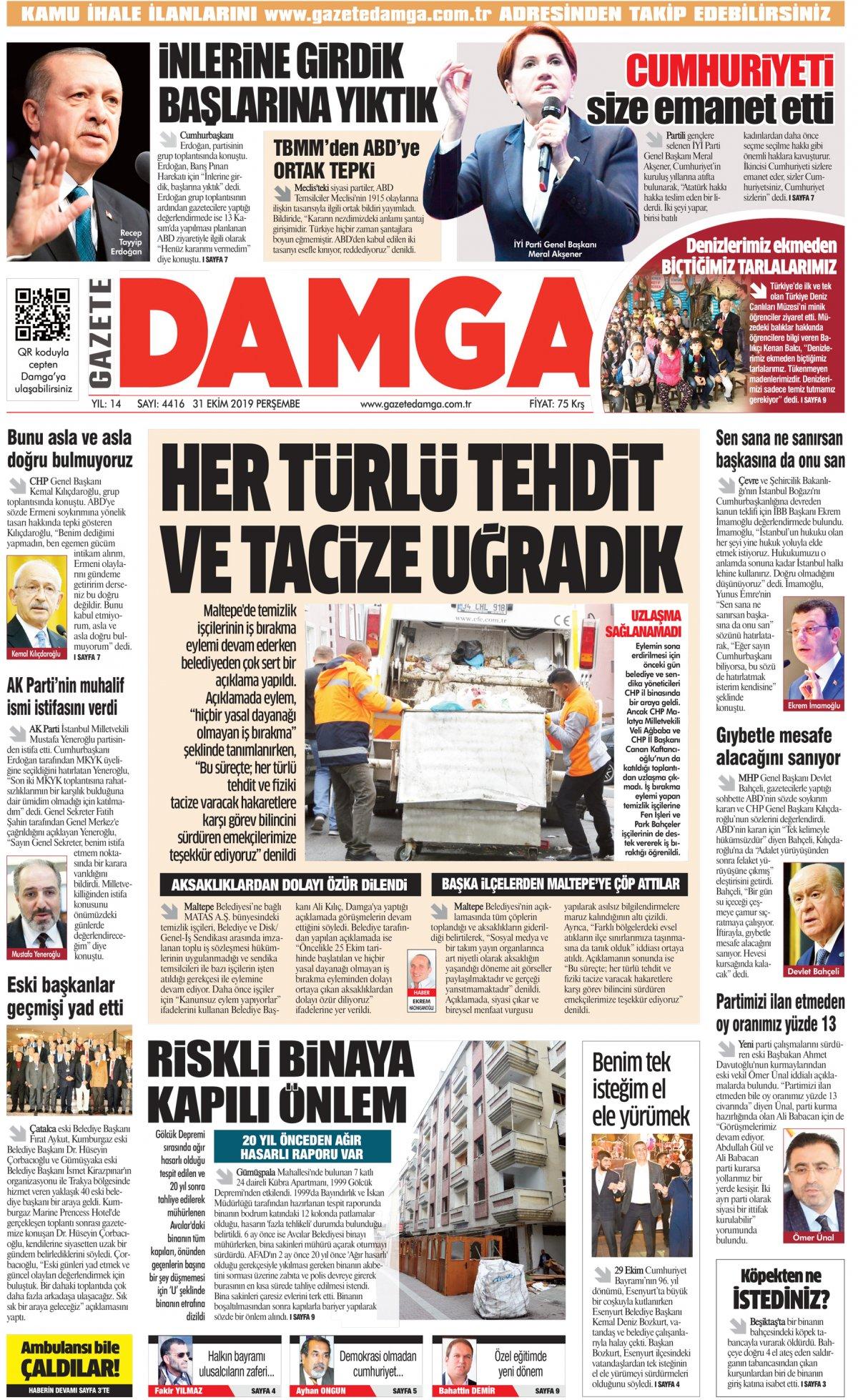 Gazete Damga - 31.10.2019 Sayfaları