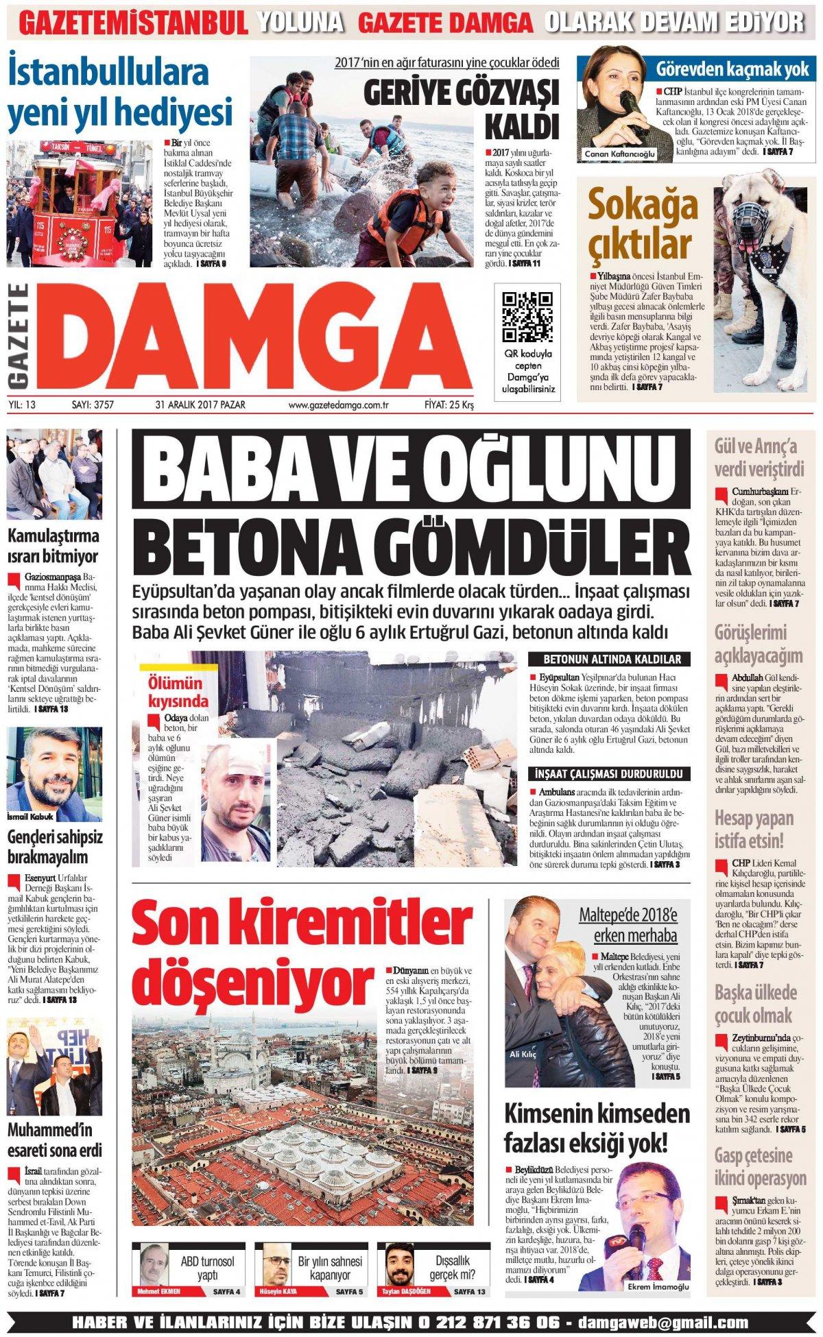 Gazete Damga - 31.12.2017 Manşeti