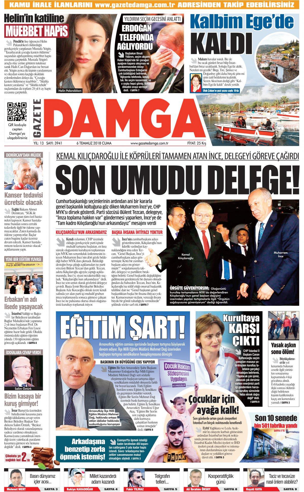 Gazete Damga - 06.07.2018 Manşeti