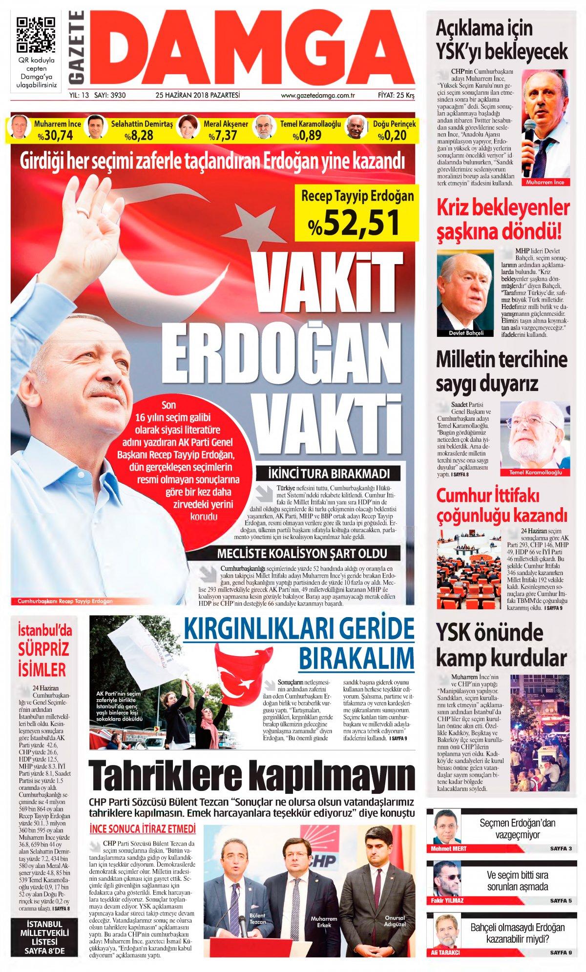 Gazete Damga - 25.06.2018 Manşeti