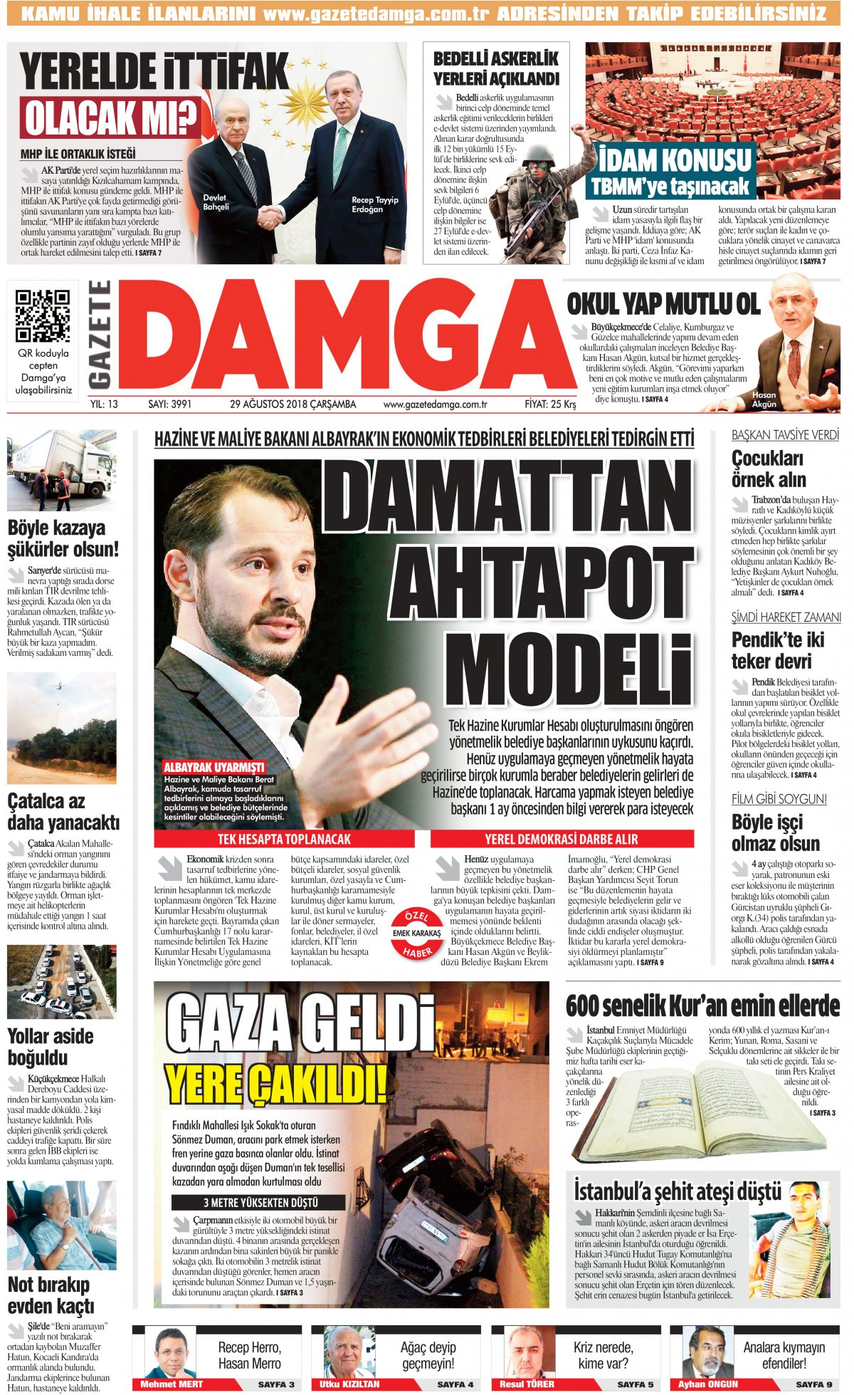 Gazete Damga - 29.08.2018 Manşeti
