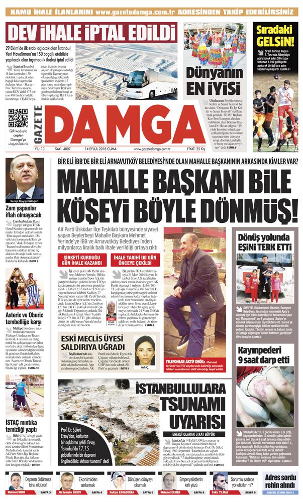 Gazete Damga - 14.09.2018 Manşeti