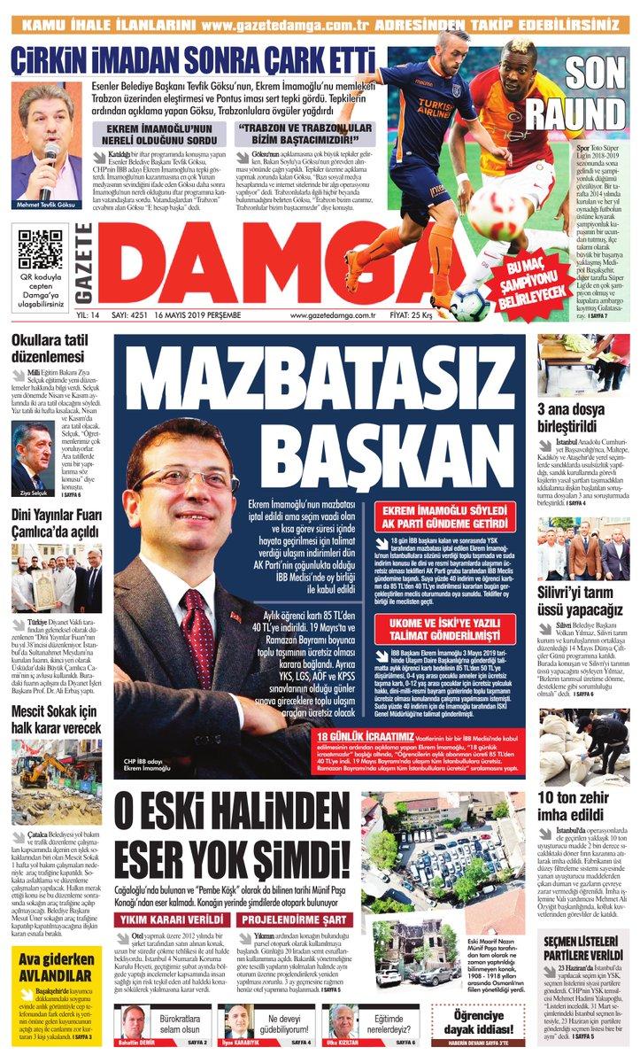 Gazete Damga - 16.05.2019 Sayfaları