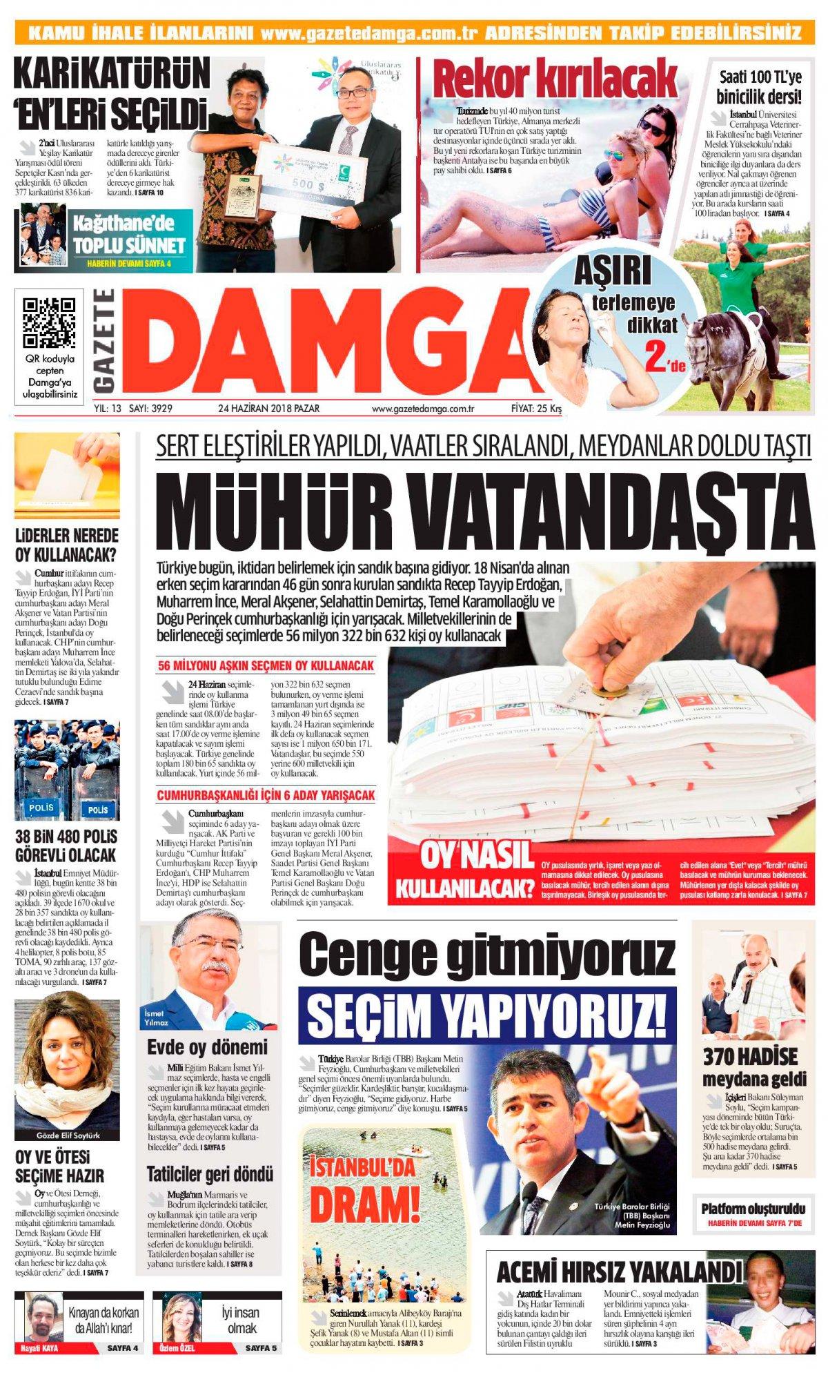 Gazete Damga - 24.06.2018 Manşeti